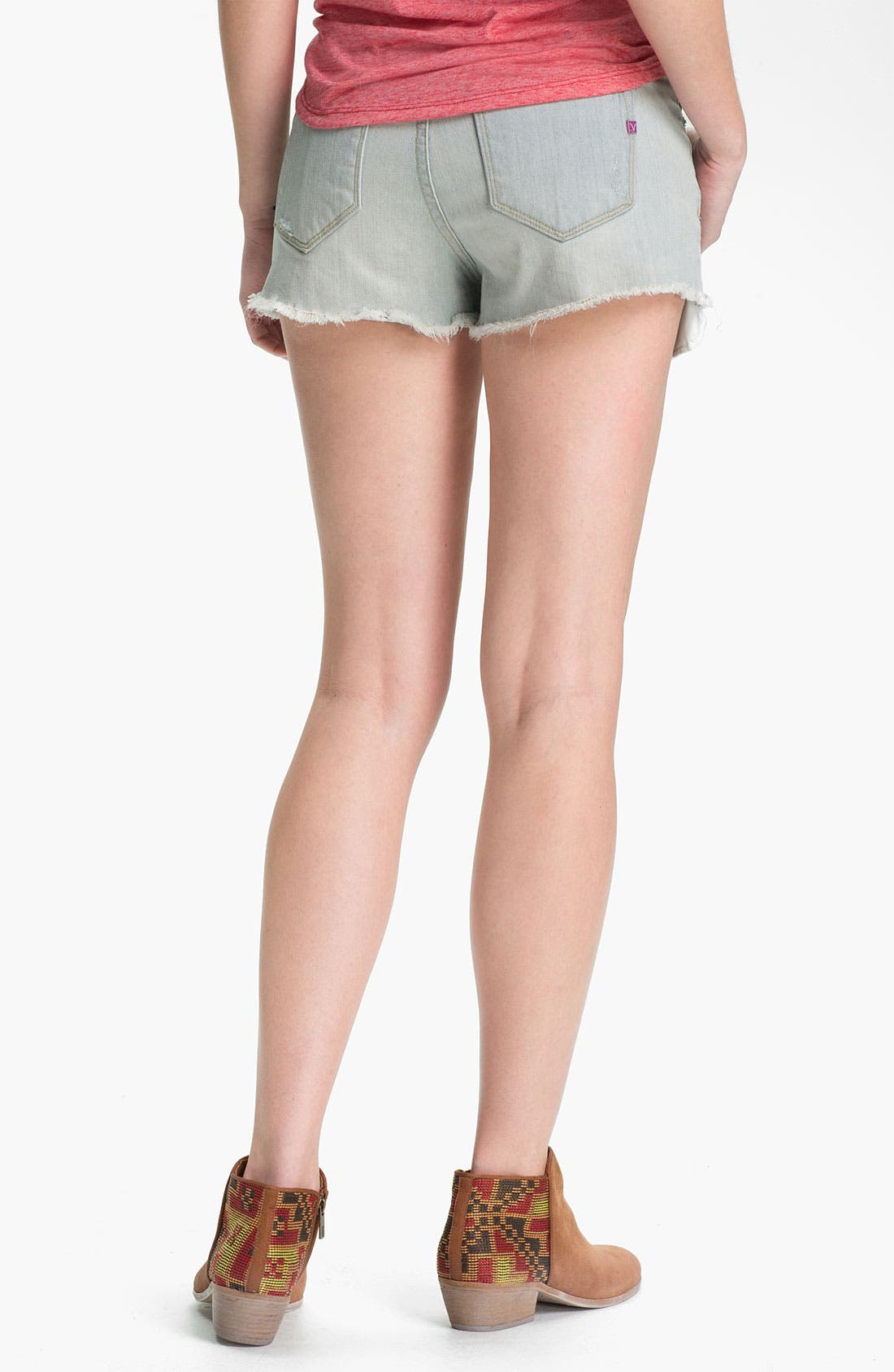 Alternate Image 2  - Vigoss Distressed High-Waist Cutoff Denim Shorts (Juniors)