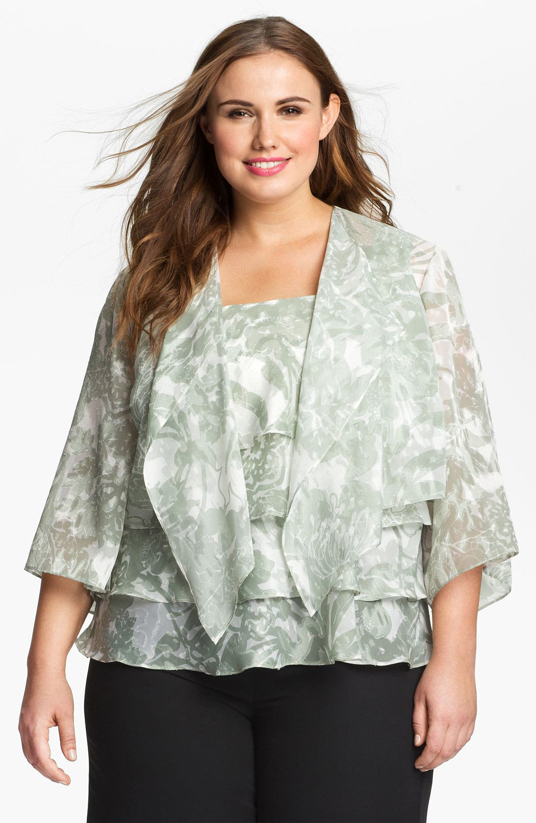 Alternate Image 1 Selected - Alex Evenings Print Chiffon Twinset (Plus)