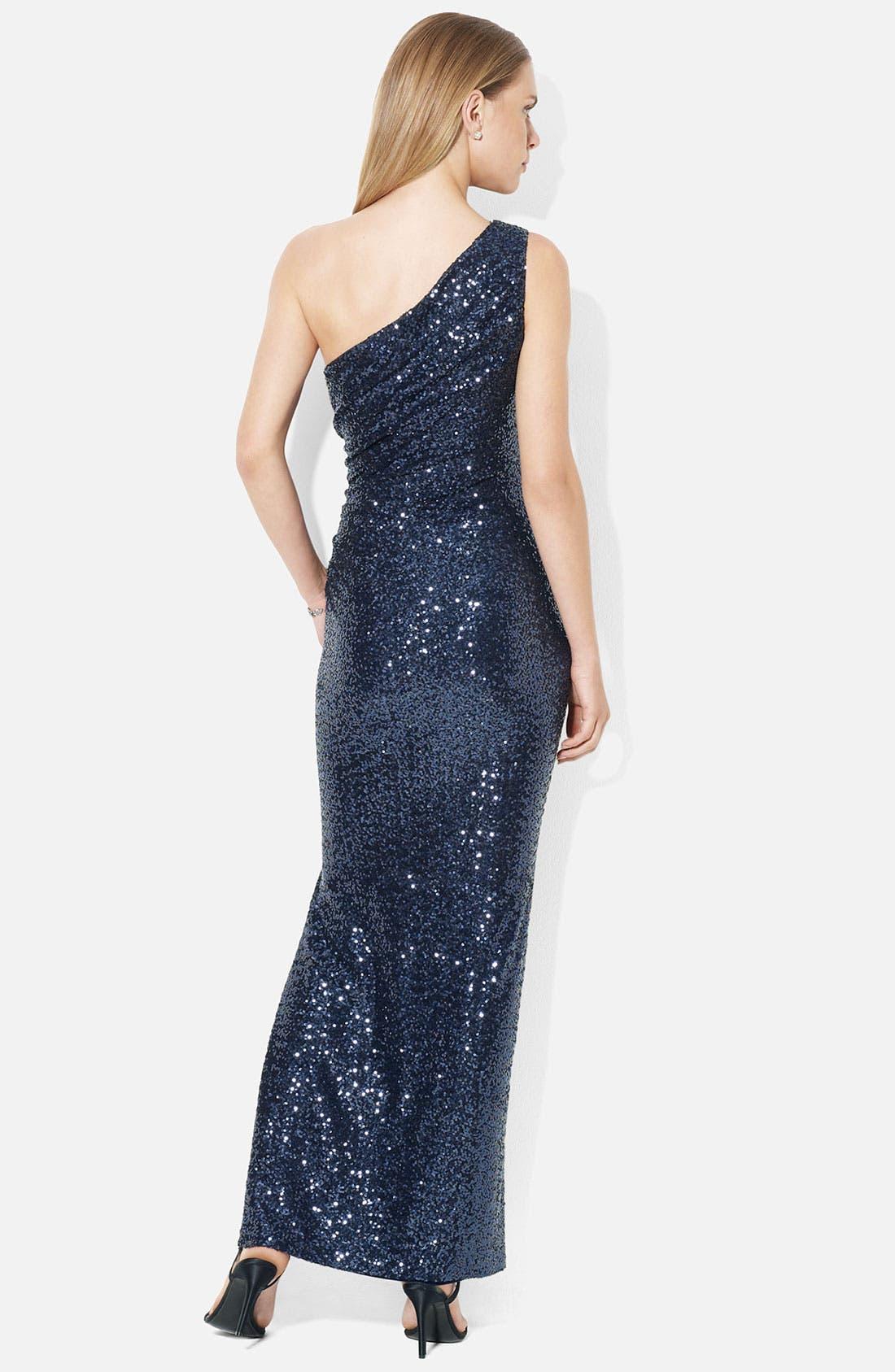 Alternate Image 2  - Lauren Ralph Lauren One Shoulder Sequin Column Gown
