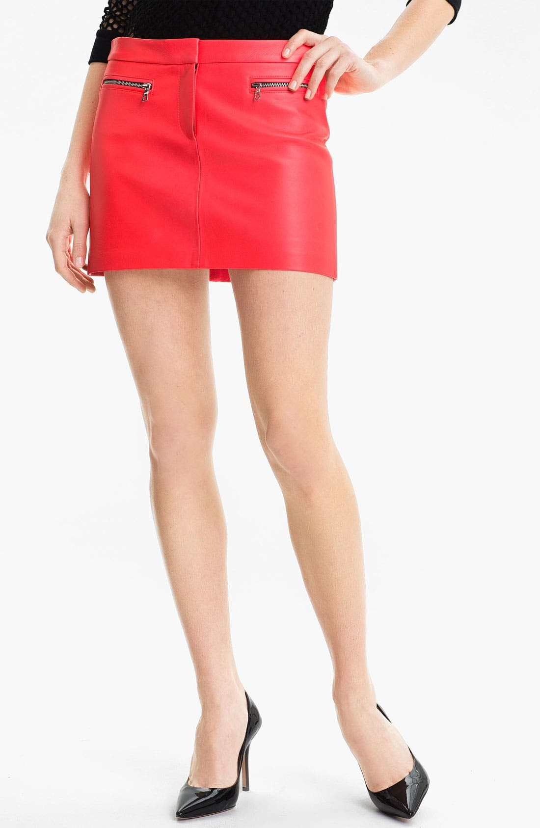 Main Image - Milly Zip Detail Leather Miniskirt