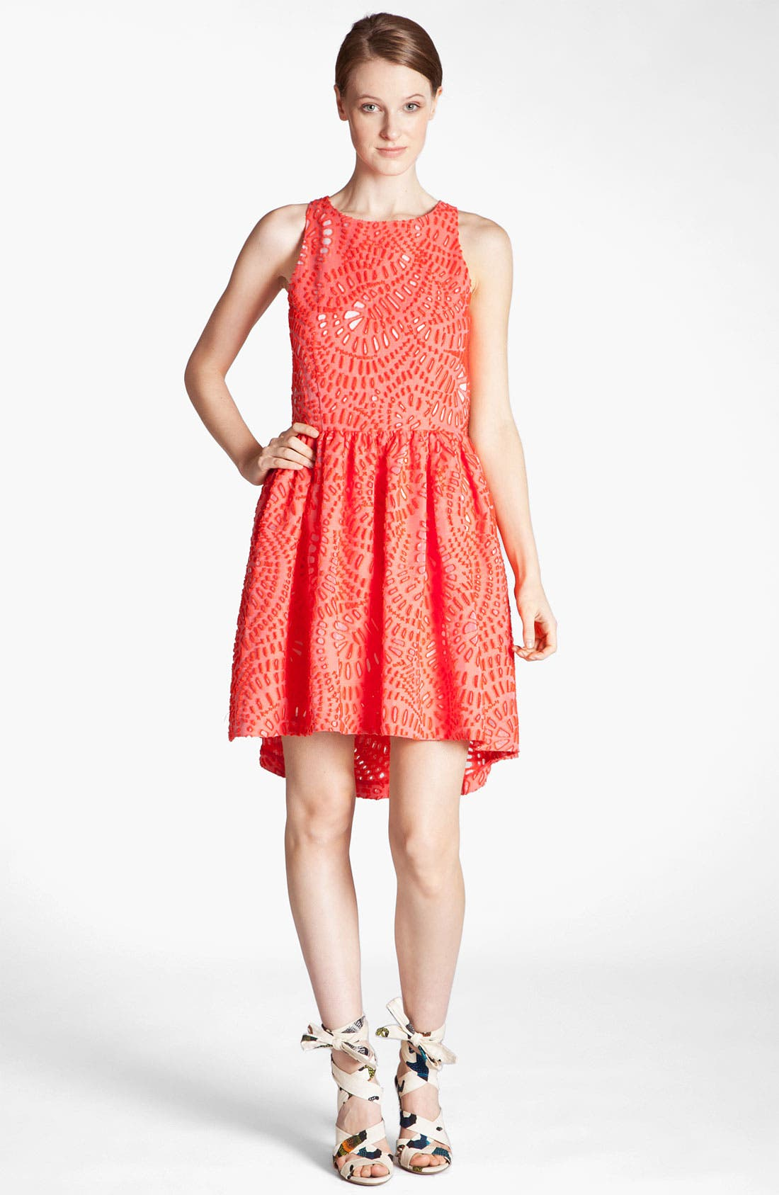 Main Image - MSGM Laser Cut Full Skirt Dress