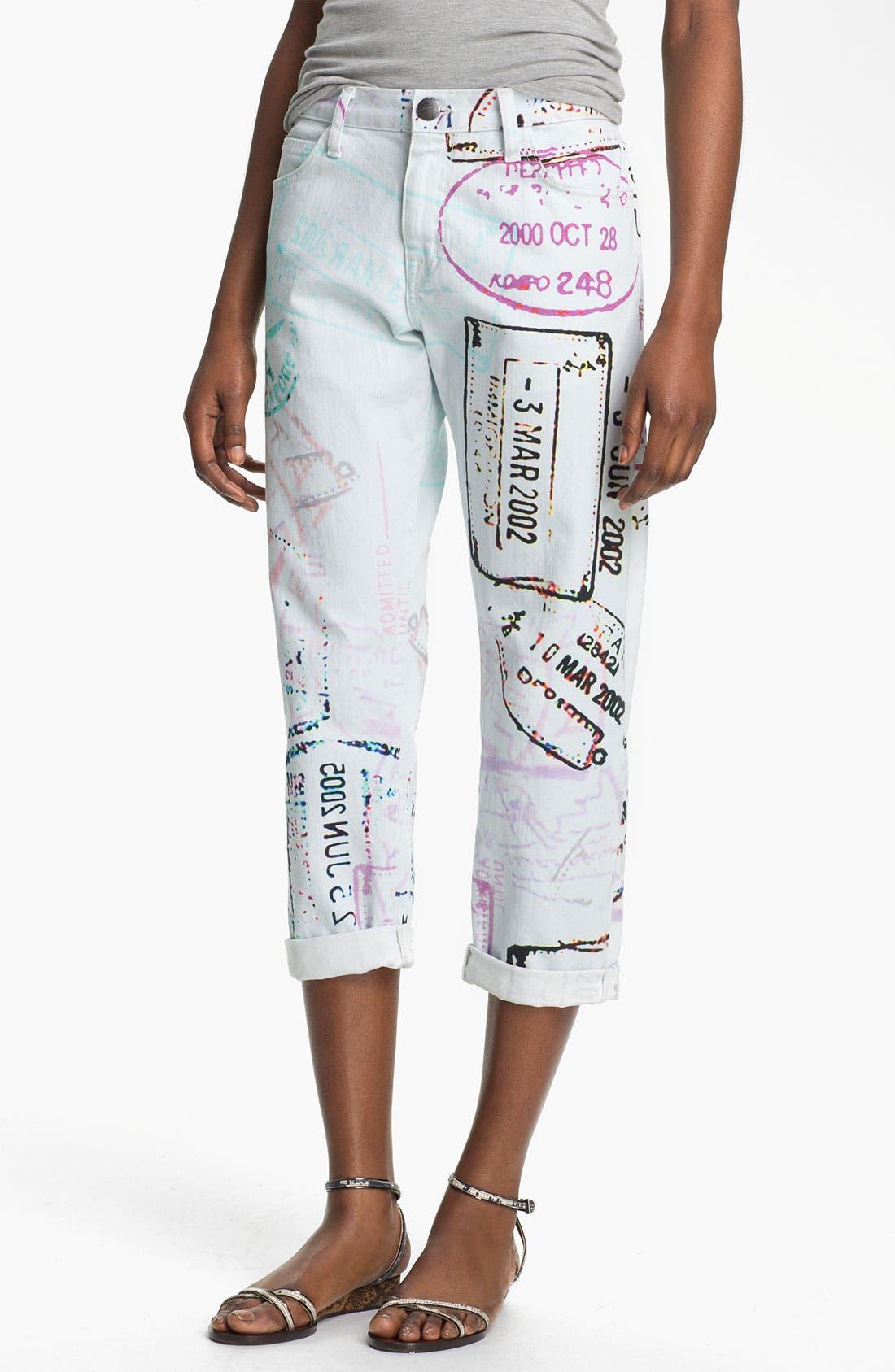 Main Image - Mary Katrantzou Current/Elliott 'The Boyfriend' Print Jeans