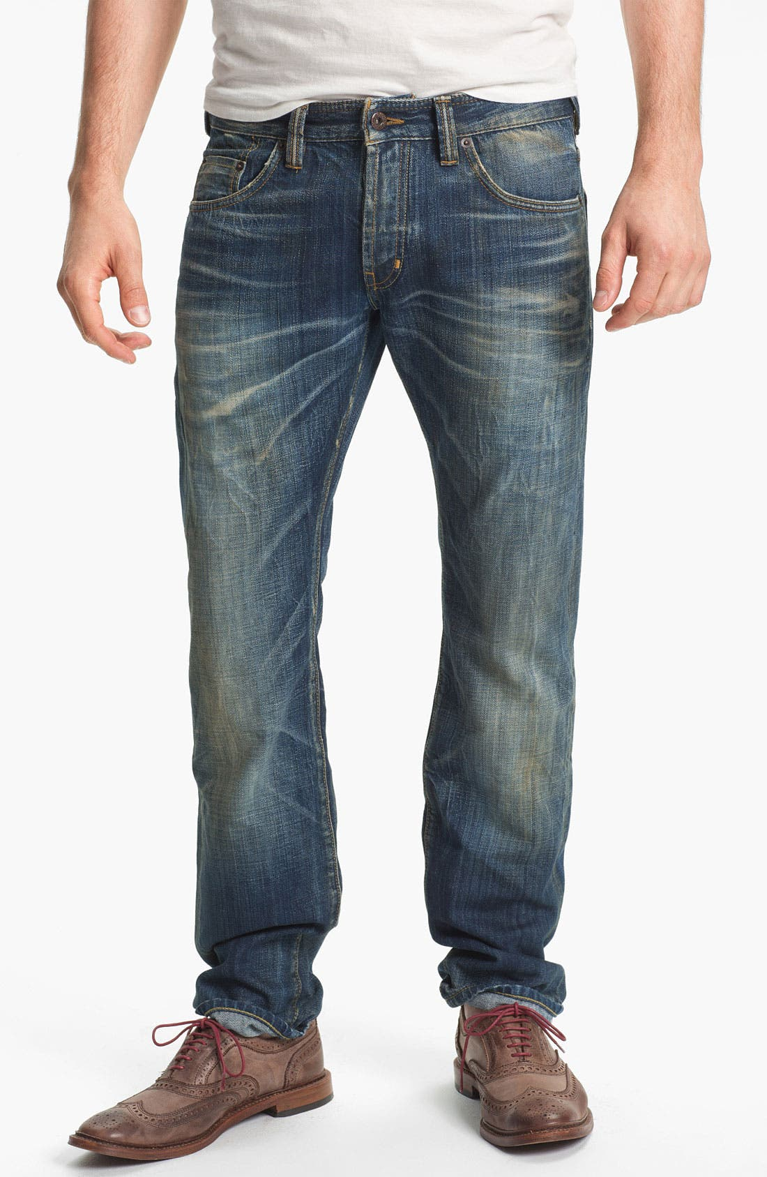 Alternate Image 2  - Natural Selection Denim 'Broken' Narrow Straight Leg Selvedge Jeans (Dune)