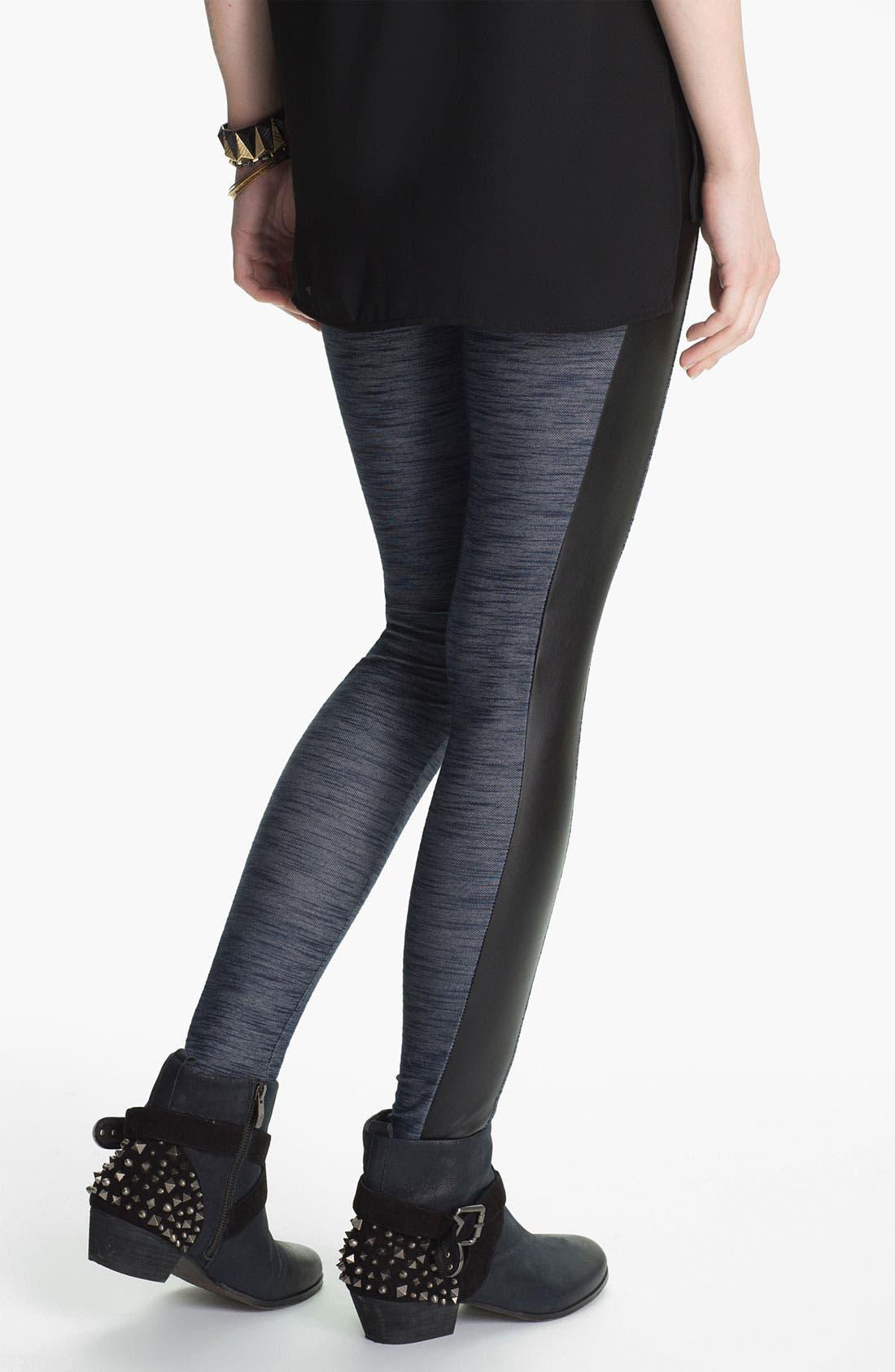 Alternate Image 2  - Lush Faux Leather Trim Tux Leggings (Juniors)