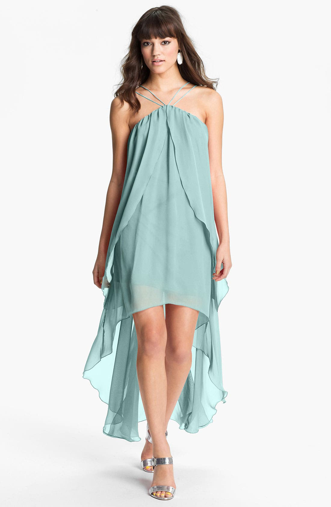 Alternate Image 1 Selected - Hailey by Adrianna Papell High/Low Chiffon Dress (Online Only)