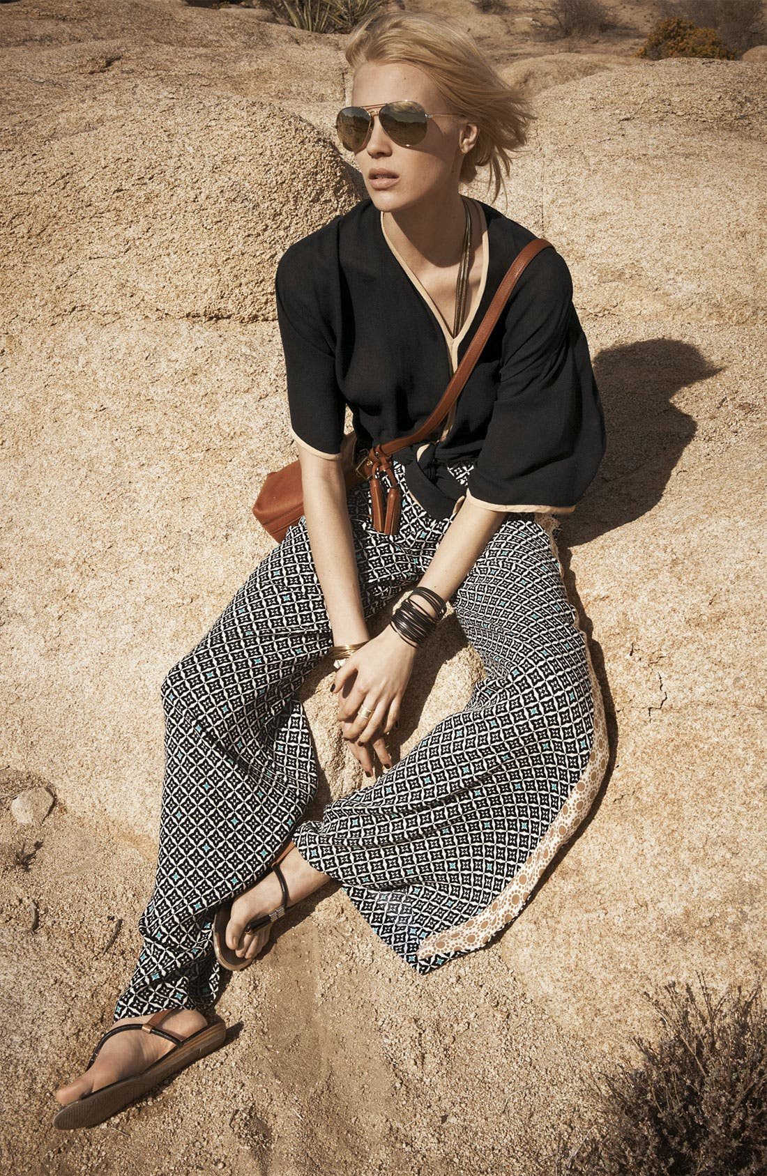 Alternate Image 4  - Ella Moss 'Sun Tile' Mix Print Palazzo Pants