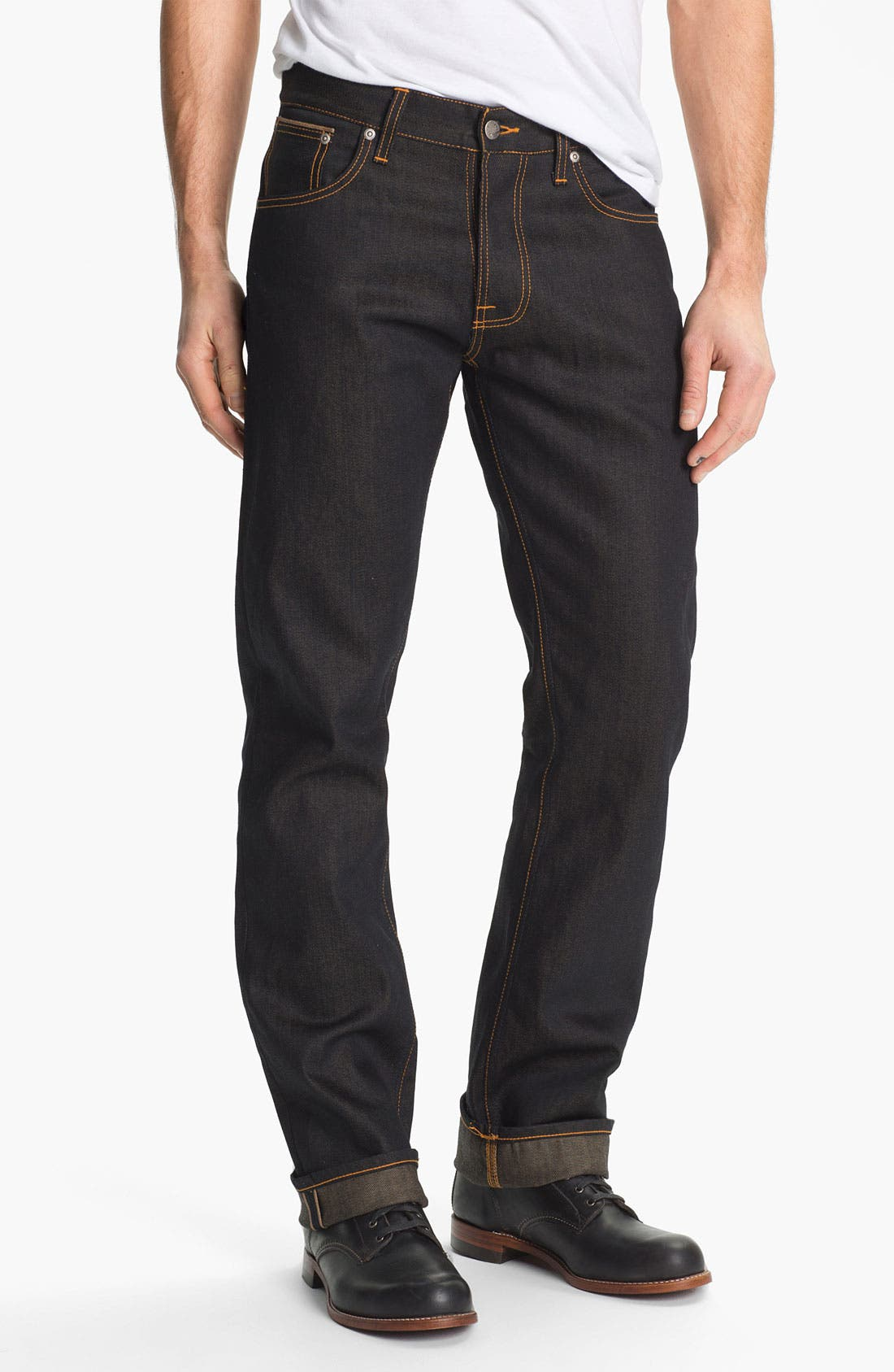 Alternate Image 2  - Nudie 'Average Joe' Straight Leg Jeans (Organic Dry Brown Selvedge)