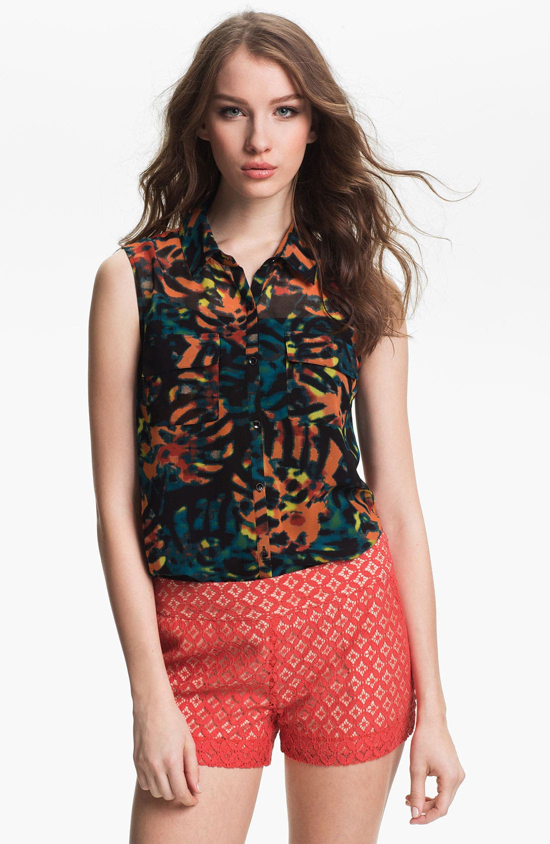 Main Image - Kensie Leaf Print Sleeveless Blouse