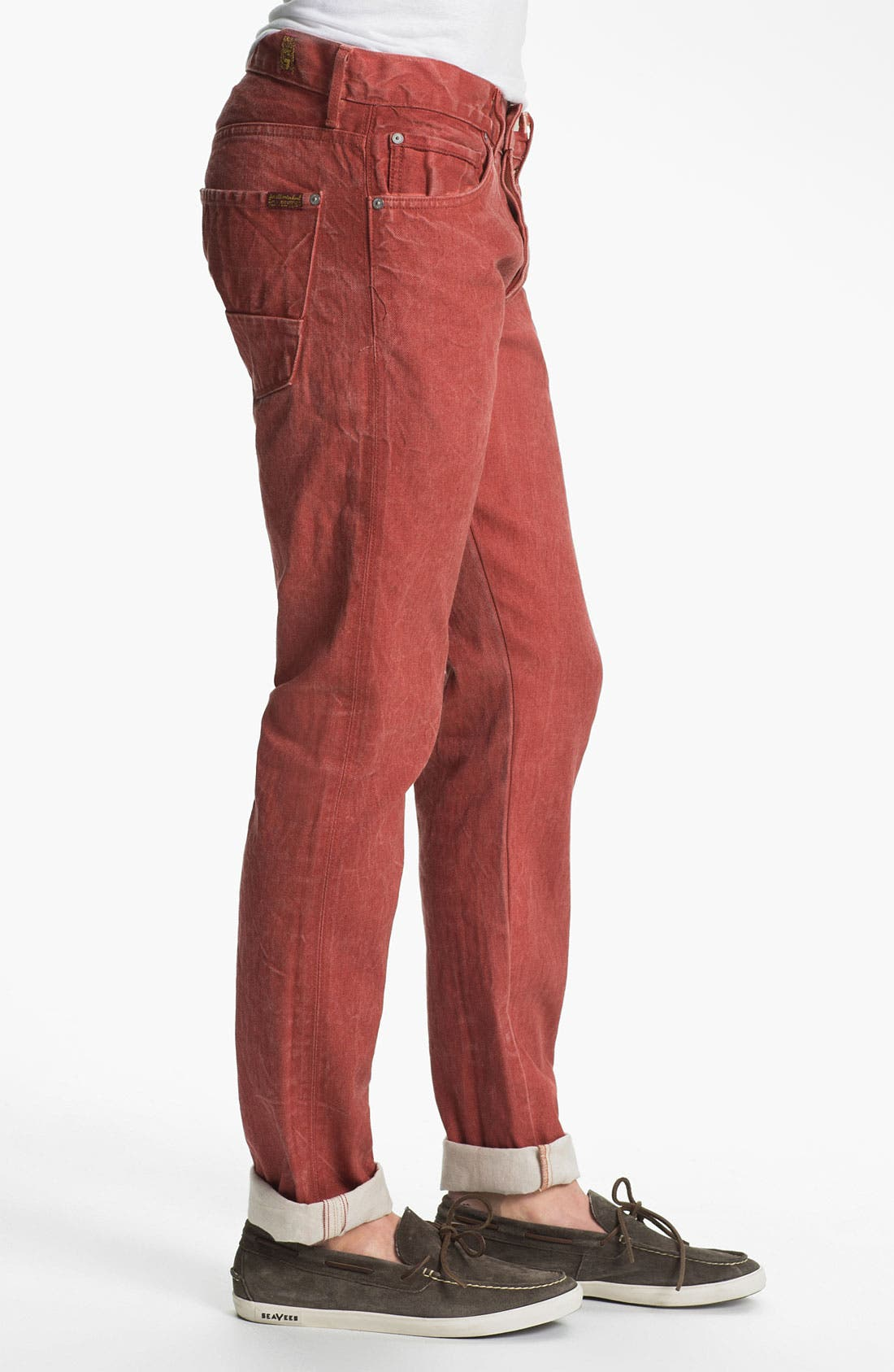 Alternate Image 3  - 7 For All Mankind® Straight Leg Selvedge Jeans (Passion Red)