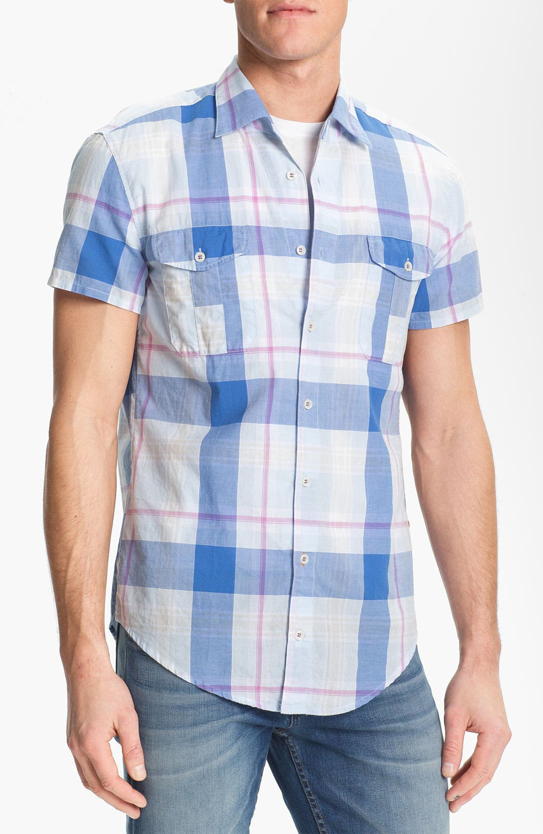 Alternate Image 1 Selected - BOSS Orange Plaid Woven Shirt