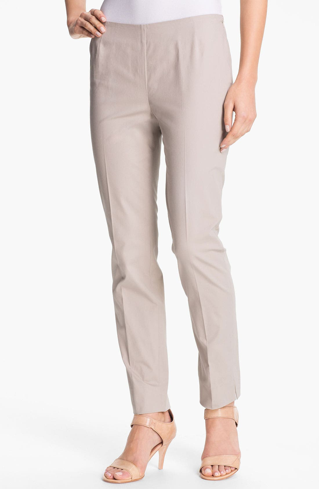 Main Image - Lafayette 148 New York Casual Cotton Side Zip Ankle Pants (Regular & Petite)