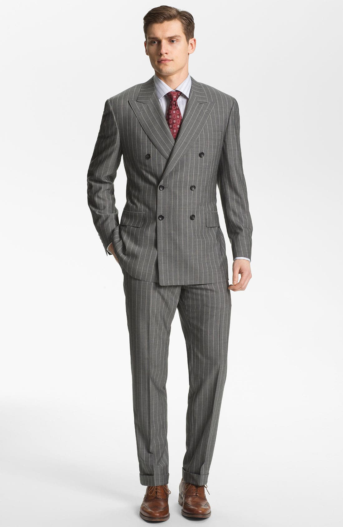 Alternate Image 2  - Canali Double Breasted Stripe Suit