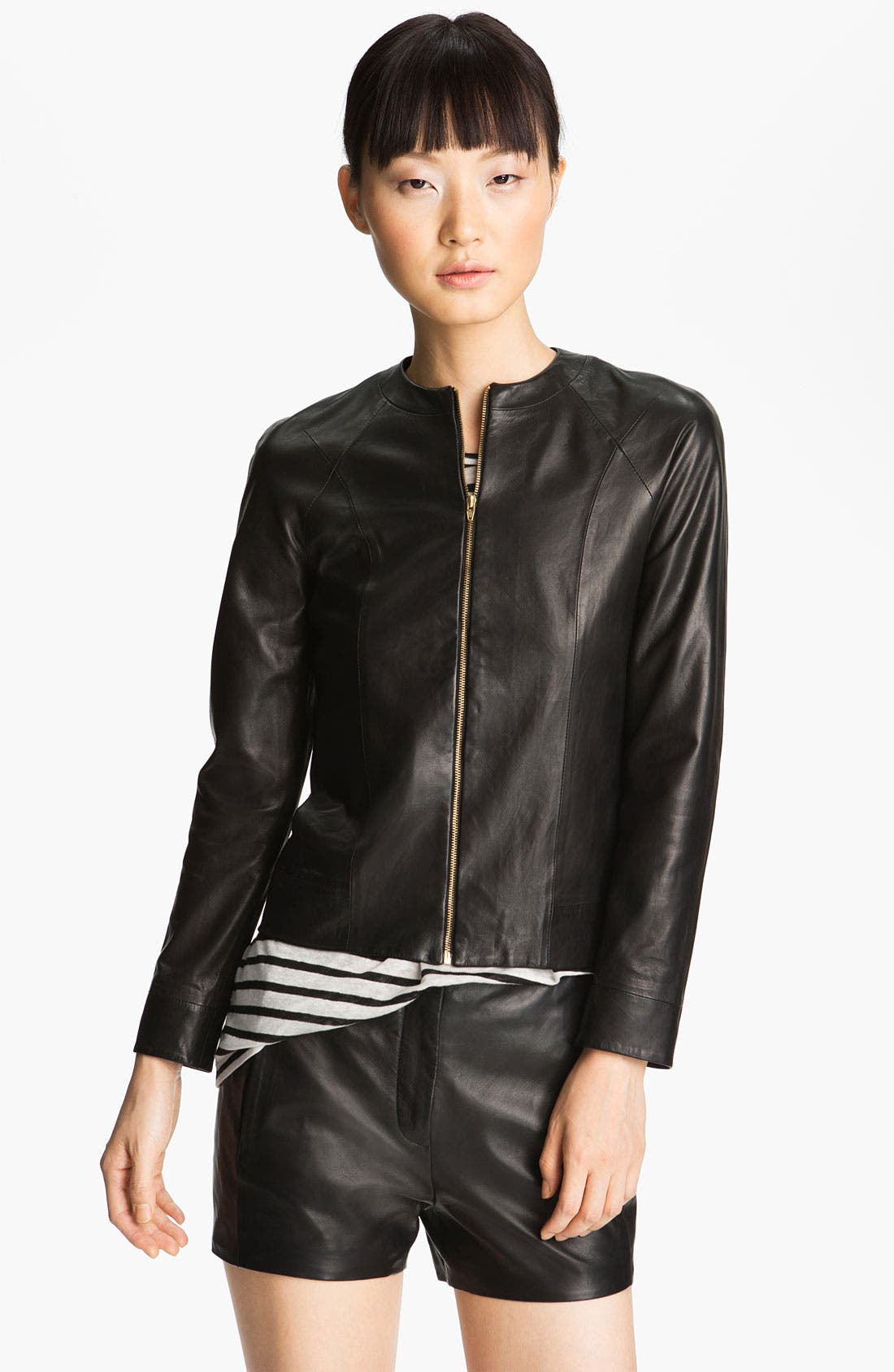 Alternate Image 2  - T by Alexander Wang Fitted Leather Jacket