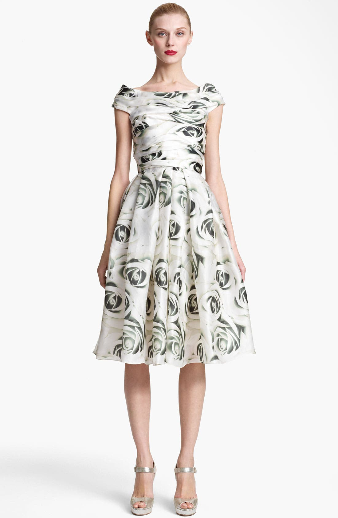 Main Image - Naeem Khan Print Organza Cocktail Dress