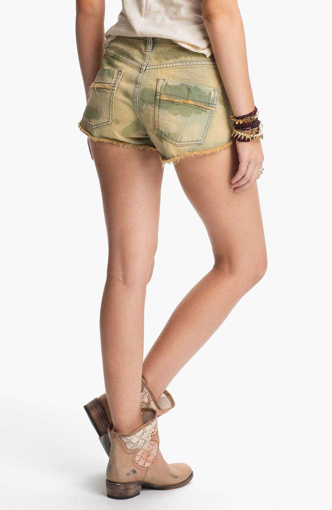 Alternate Image 2  - Free People Studded Camo Cutoff Denim Shorts (Castro)