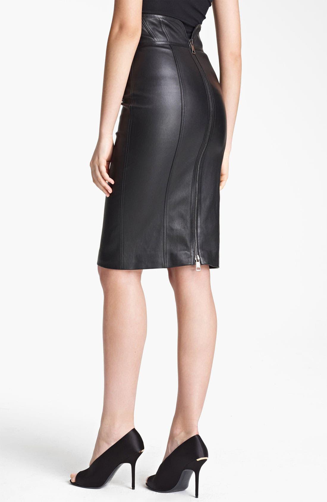 Alternate Image 2  - Burberry London High Waist Leather Skirt