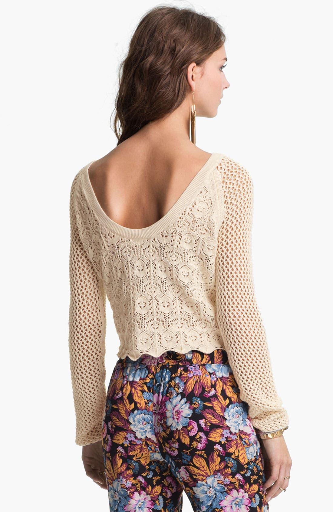 Alternate Image 2  - Frenchi® Mix Knit Crochet Sweater (Juniors)