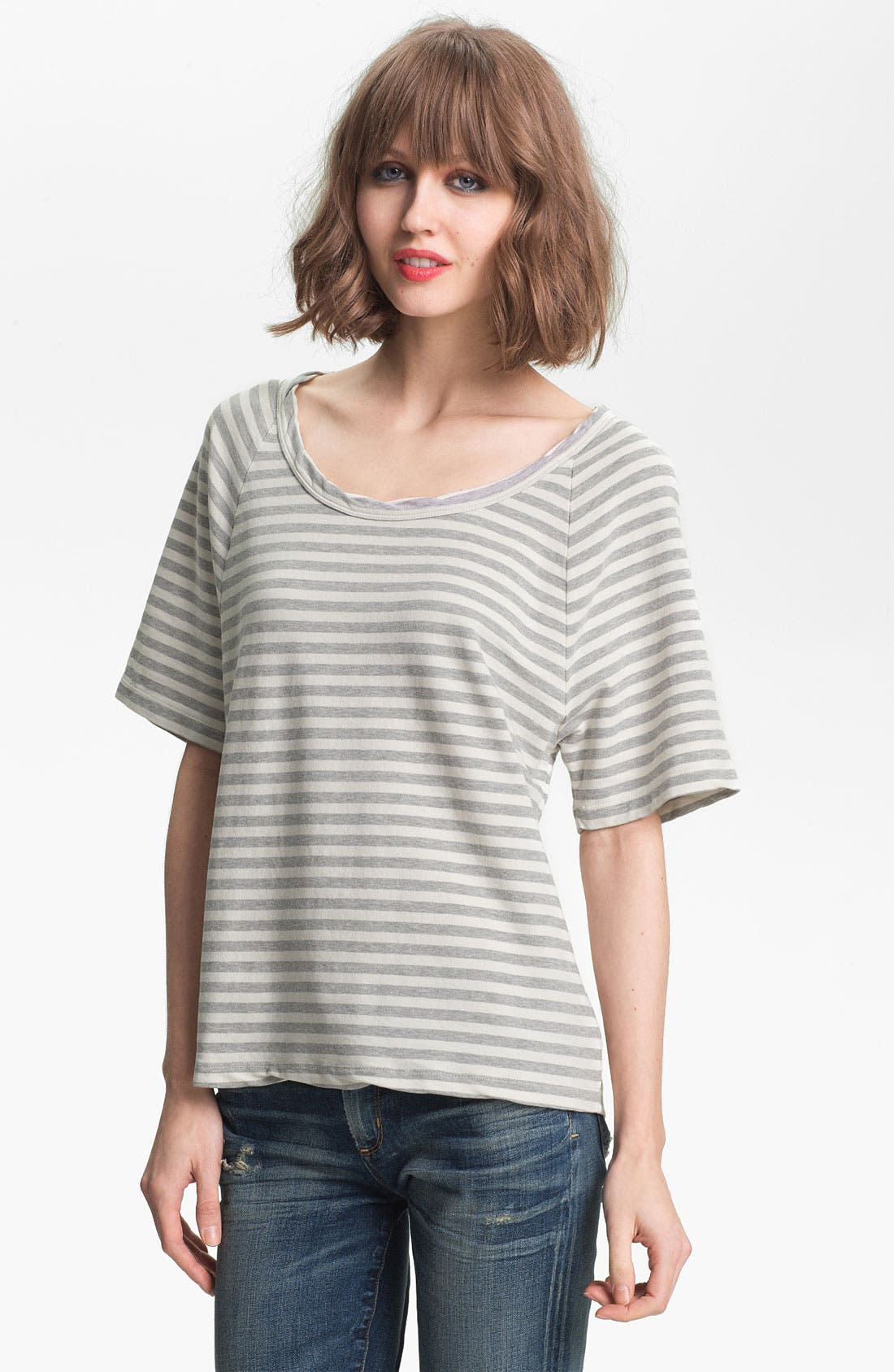 Alternate Image 1 Selected - James Perse Stripe Short Sleeve Sweatshirt