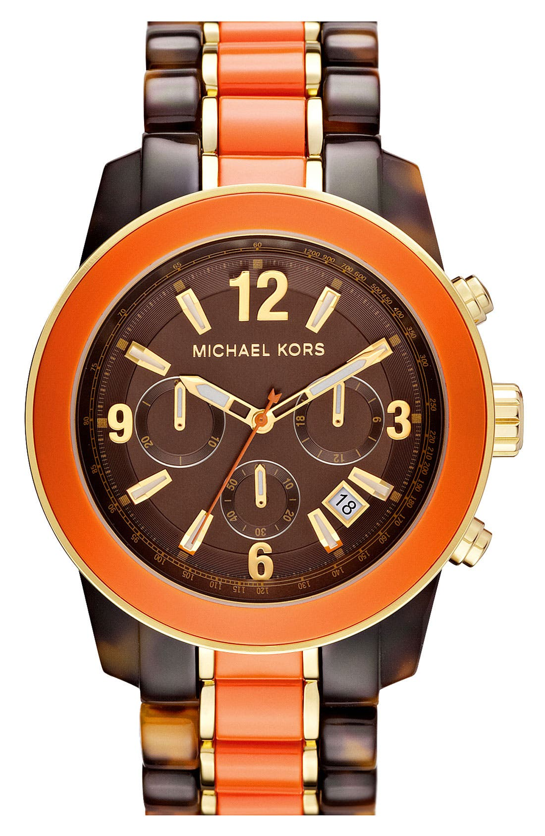 Main Image - Michael Kors 'Preston' Two Tone Chronograph Bracelet Watch, 45mm