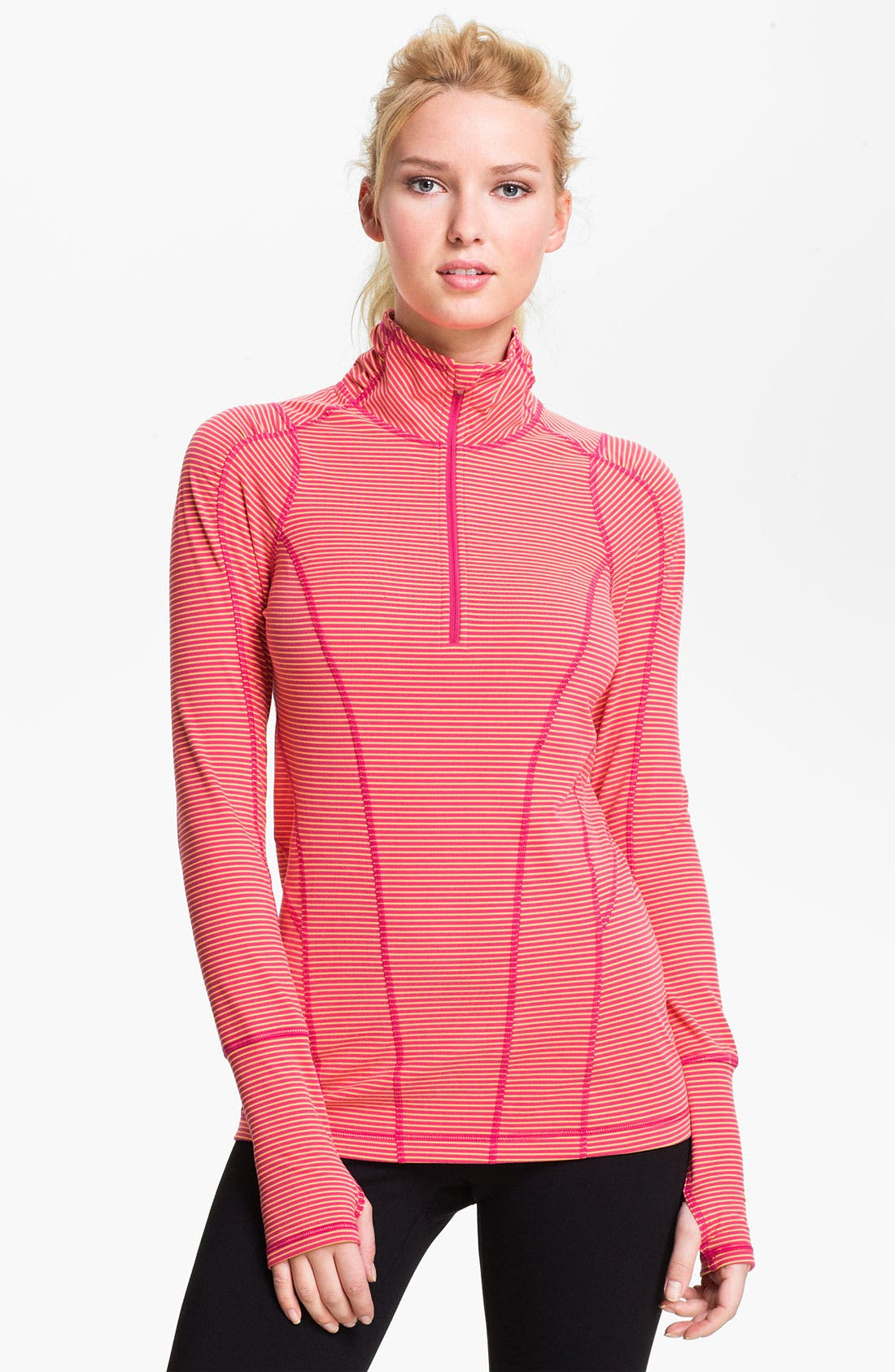 Alternate Image 1 Selected - Zella 'Good Sport' Stripe Half Zip Top