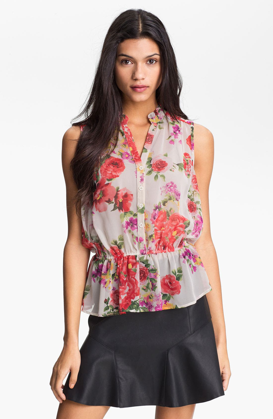 Main Image - Bellatrix Print Sheer Peplum Blouse