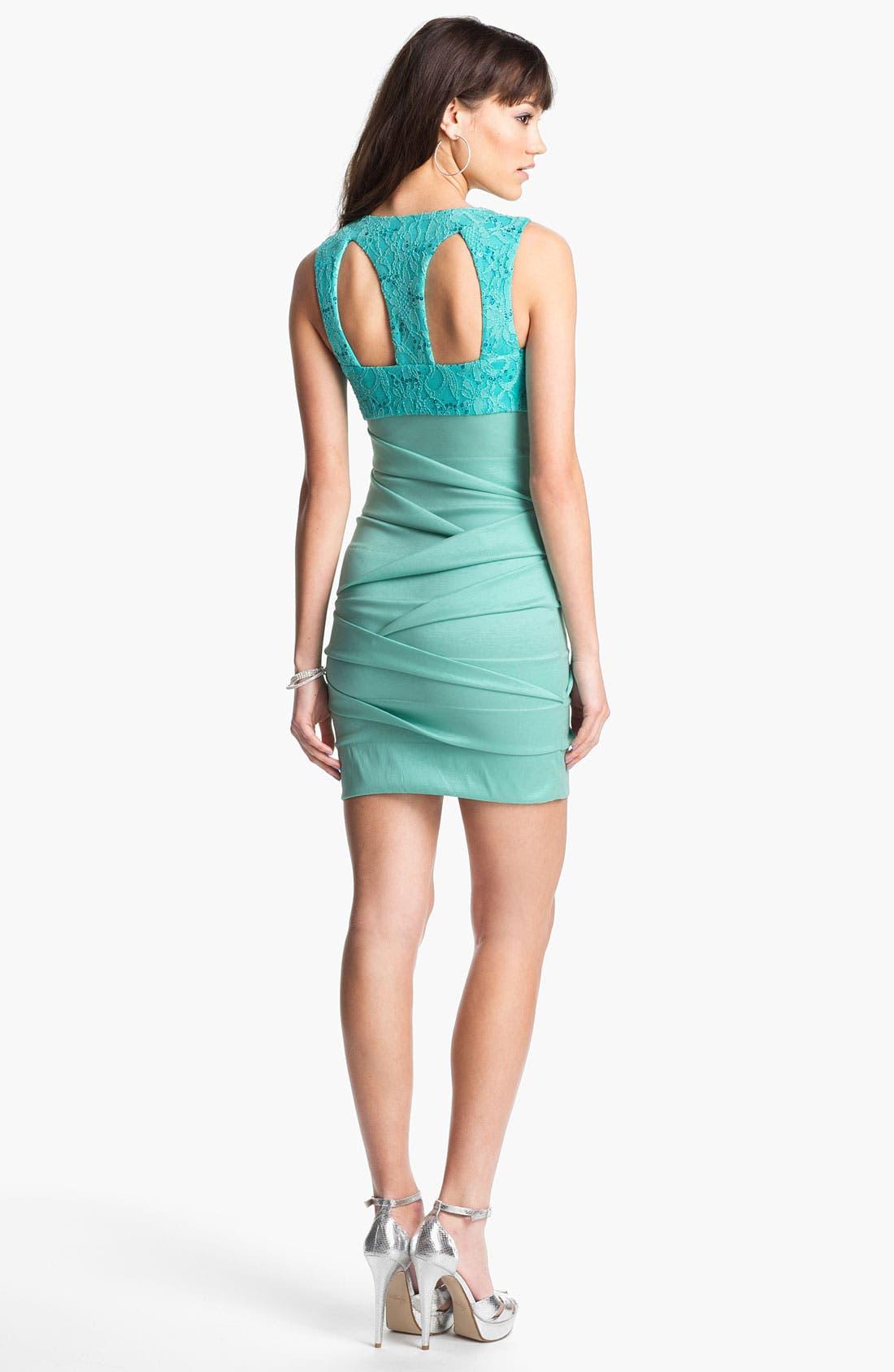 Alternate Image 2  - Hailey Logan Lace & Sequin Body-Con Dress (Juniors) (Online Exclusive)