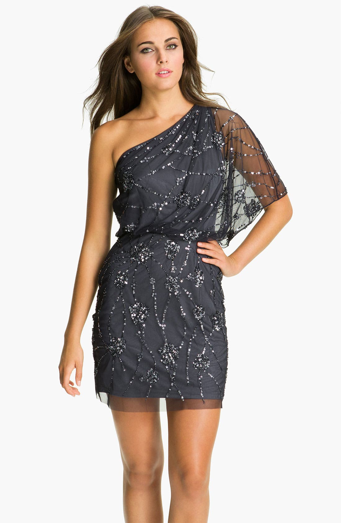 Main Image - Adrianna Papell Embellished One Shoulder Mesh Dress (Petite)