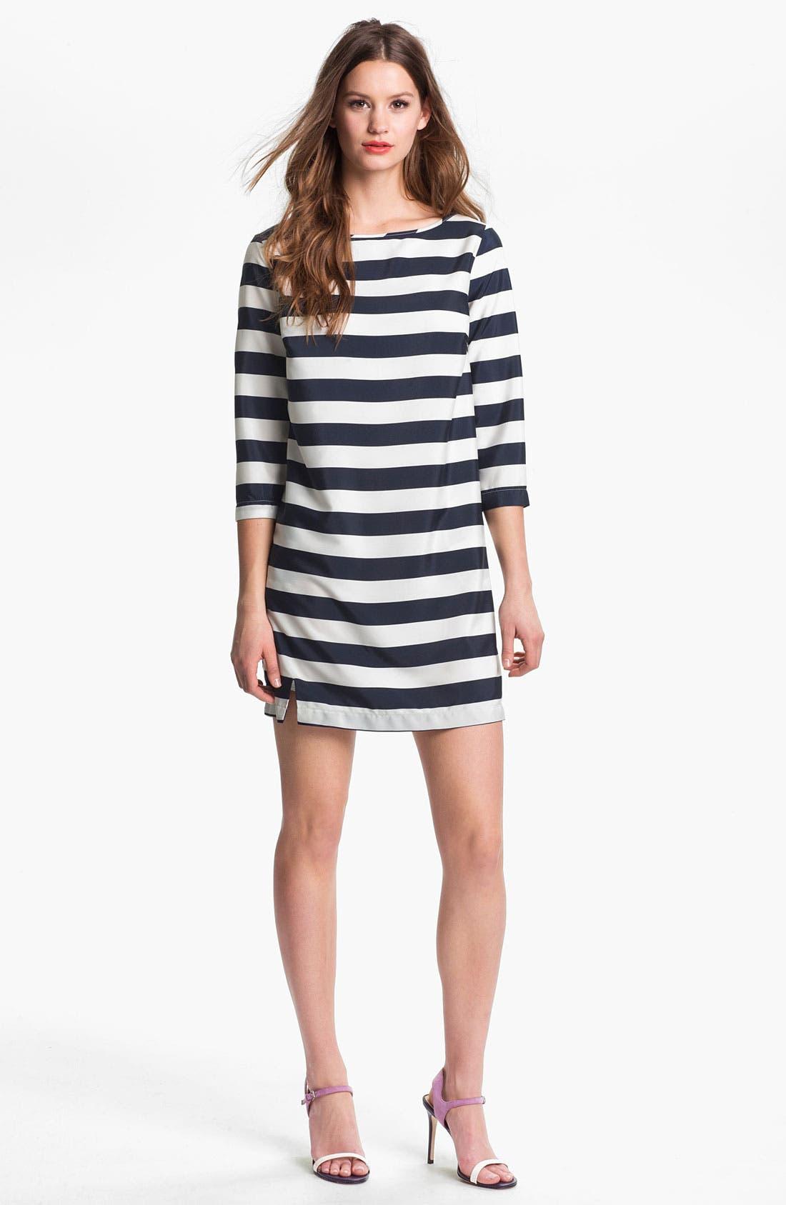 Alternate Image 1 Selected - Press Bateau Neck Stripe Shirtdress