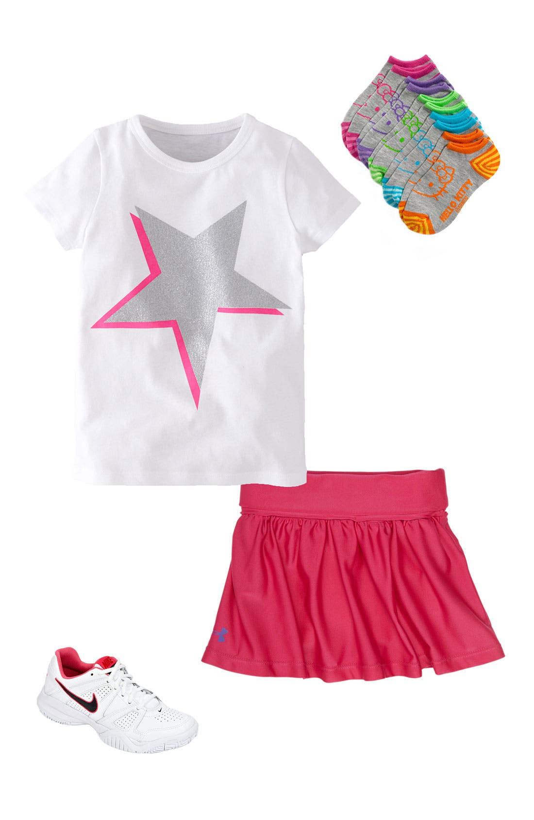 Main Image - Mini Boden Tee, Under Armour Skirt & Nike Sneaker (Toddler)