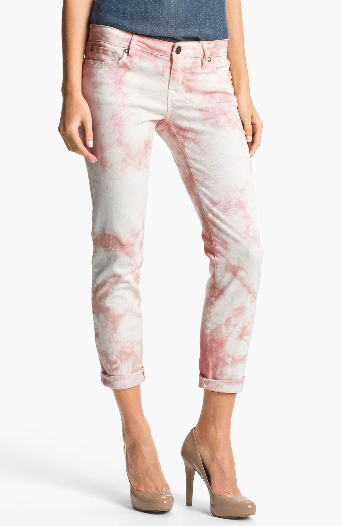 Main Image - Jessica Simpson 'Forever' Cuffed Skinny Jeans (Peach Whip) (Online Exclusive)