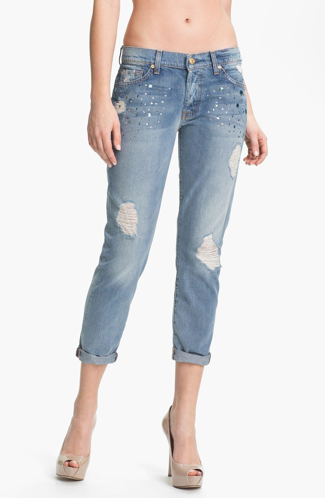 Main Image - 7 For All Mankind® 'Josefina' Embellished Destroyed Jeans (Light Destroyed)