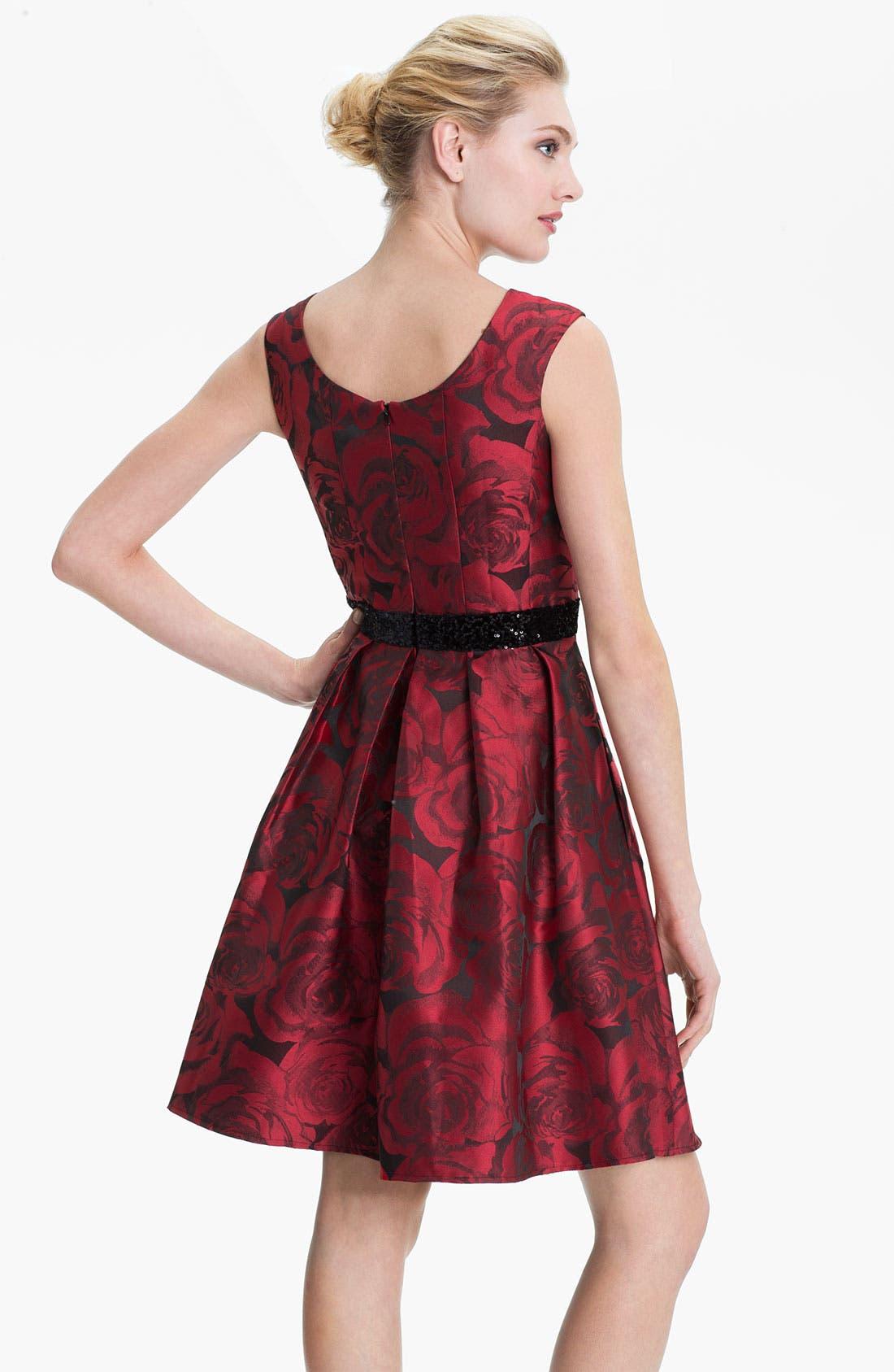 Alternate Image 2  - Donna Ricco Print Satin Party Dress (Petite)