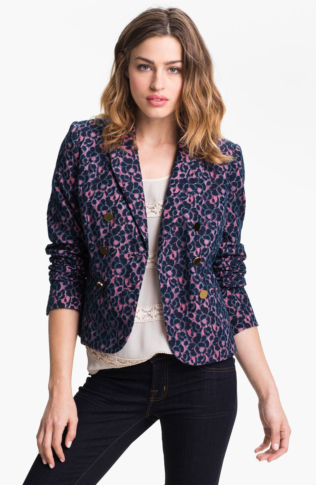Alternate Image 1 Selected - Juicy Couture Double Breasted Lace Blazer