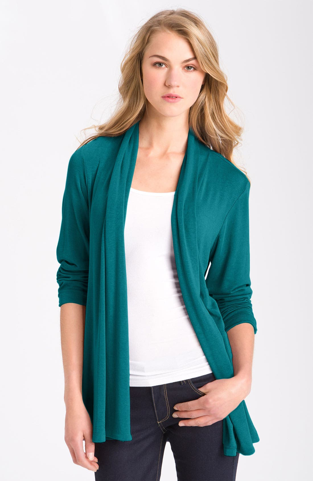 Main Image - MOD.lusive Ruched Sleeve Long Cardigan (Nordstrom Exclusive)