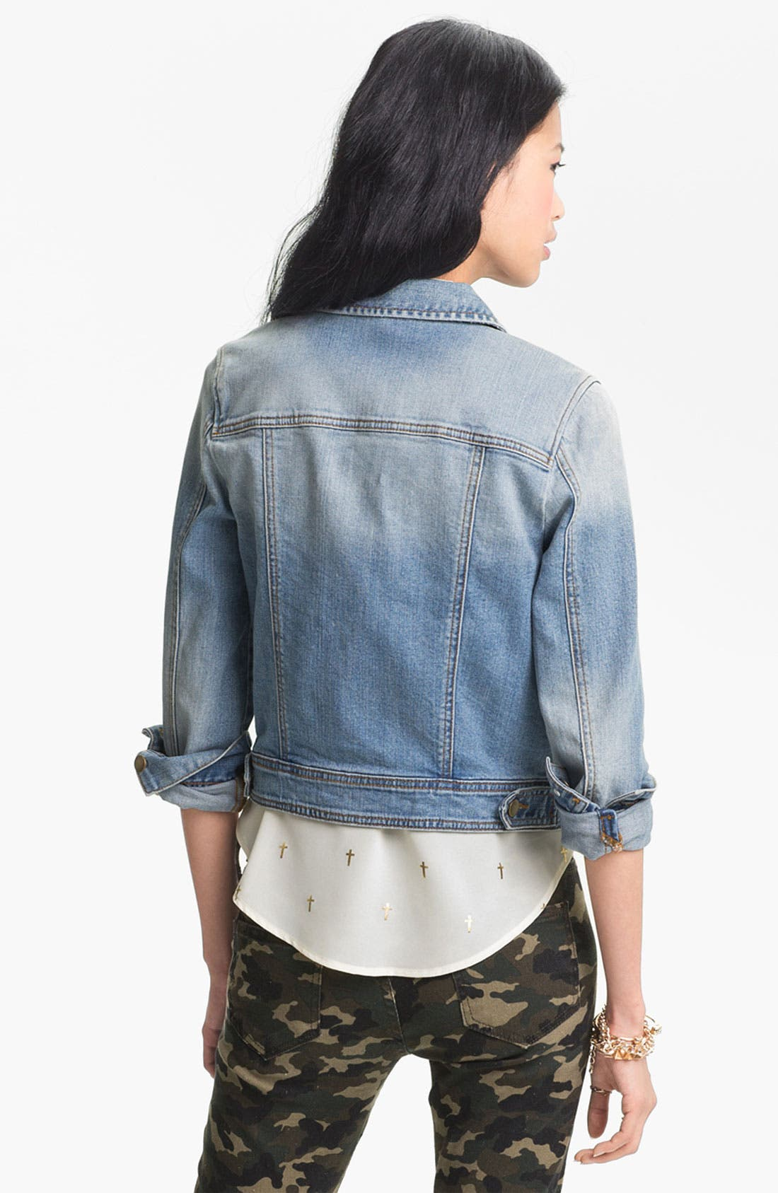 Alternate Image 2  - Rubbish® Vintage Denim Jacket (Juniors)