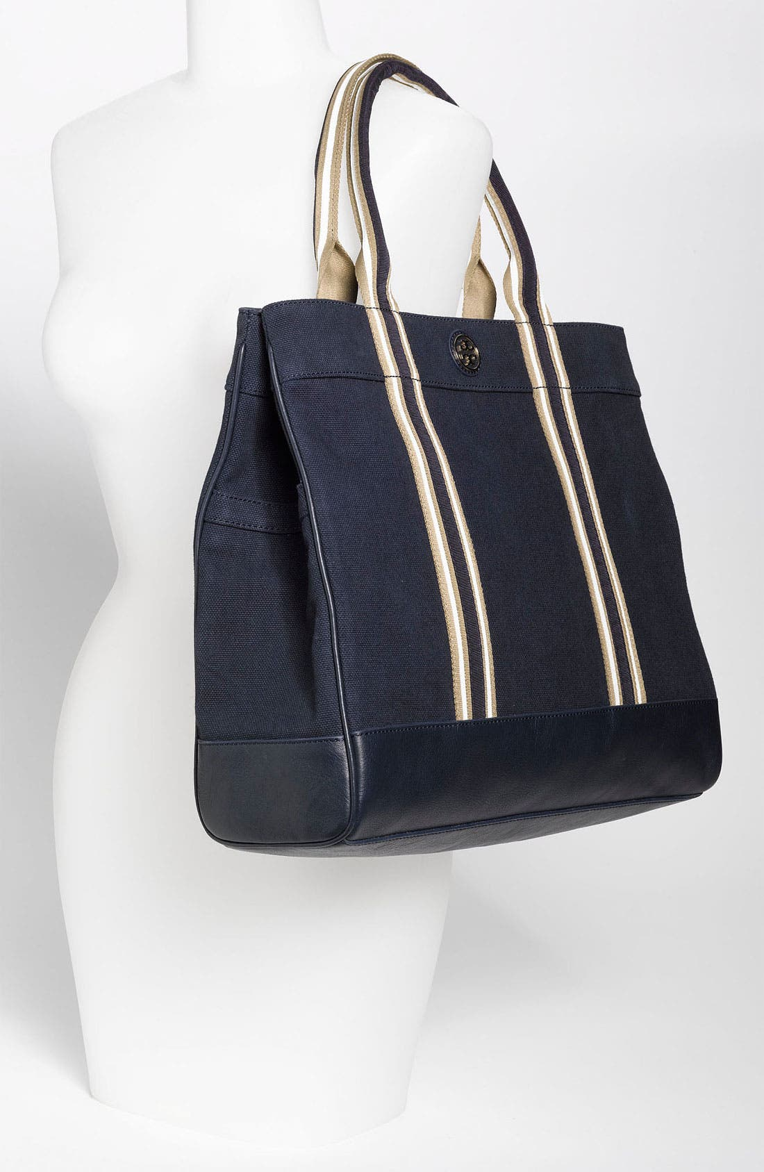 Alternate Image 2  - Tory Burch Stripe Canvas Tote, Large