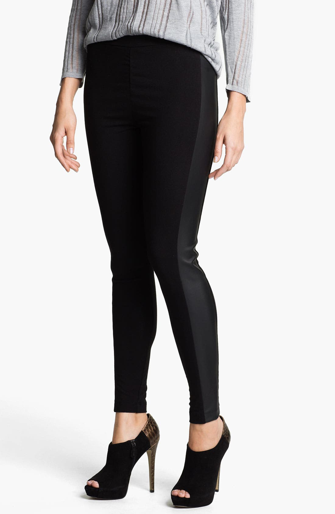 Main Image - Two by Vince Camuto Faux Leather & Knit Leggings (Petite)