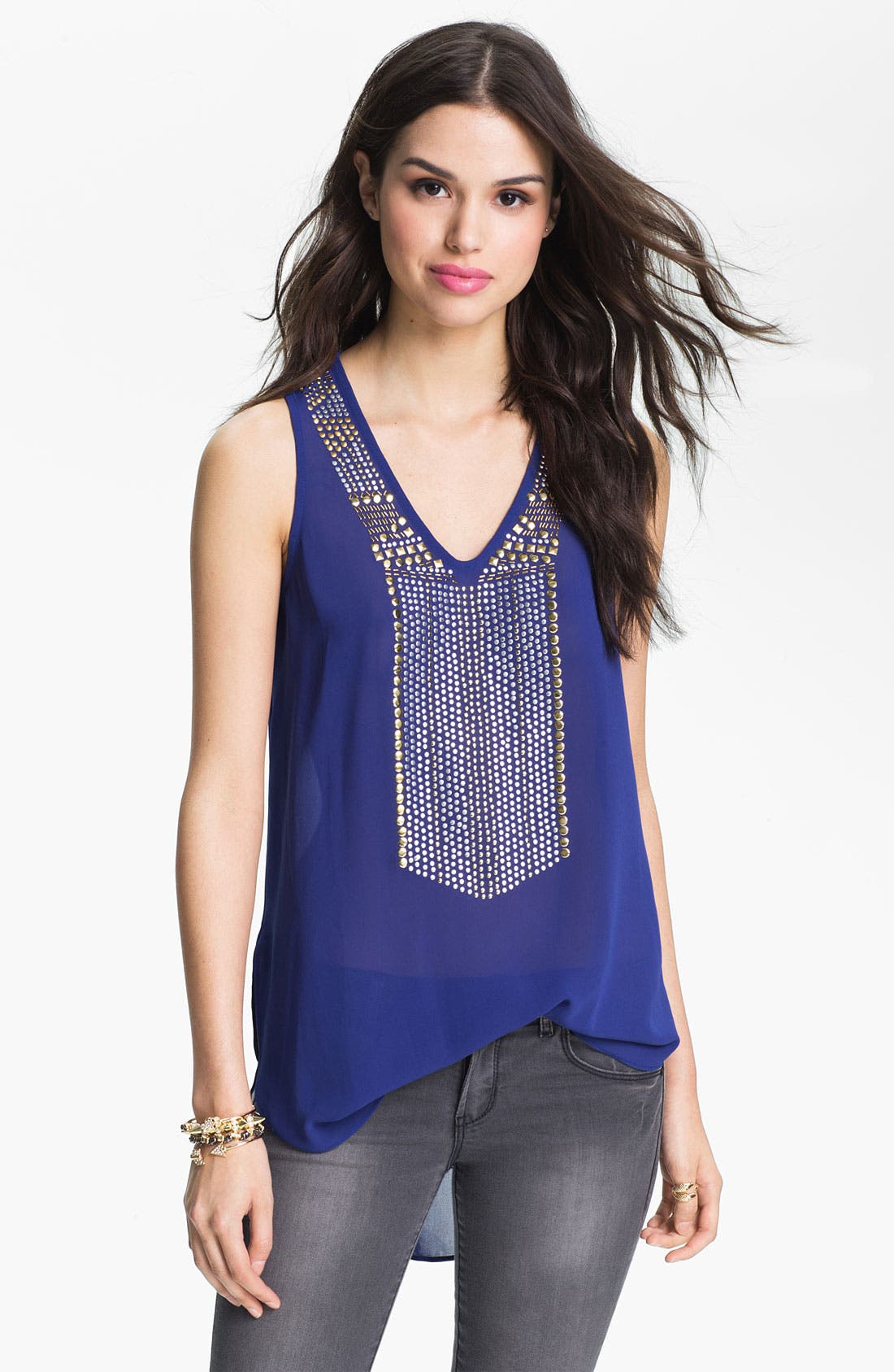 Alternate Image 1 Selected - Chloe K Studded Bib Chiffon Tank (Juniors)