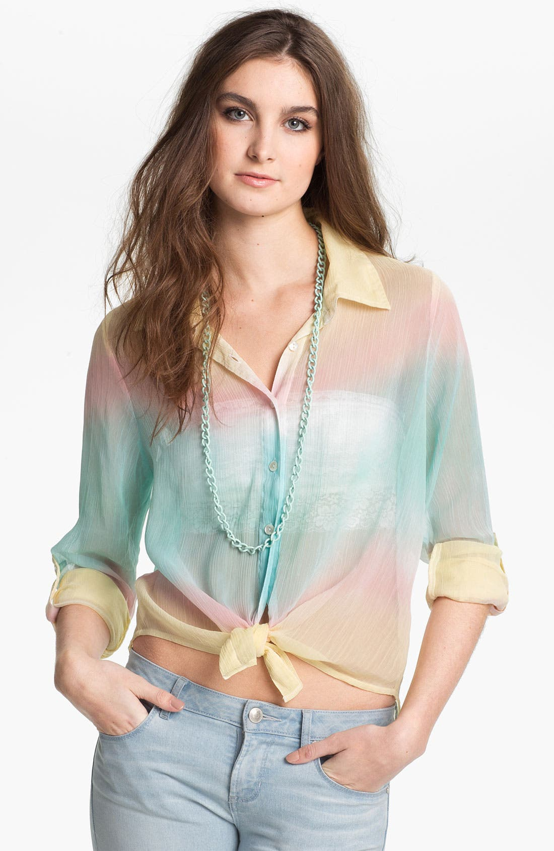 Alternate Image 1 Selected - Living Doll Sheer Rainbow Ombré Shirt (Juniors)