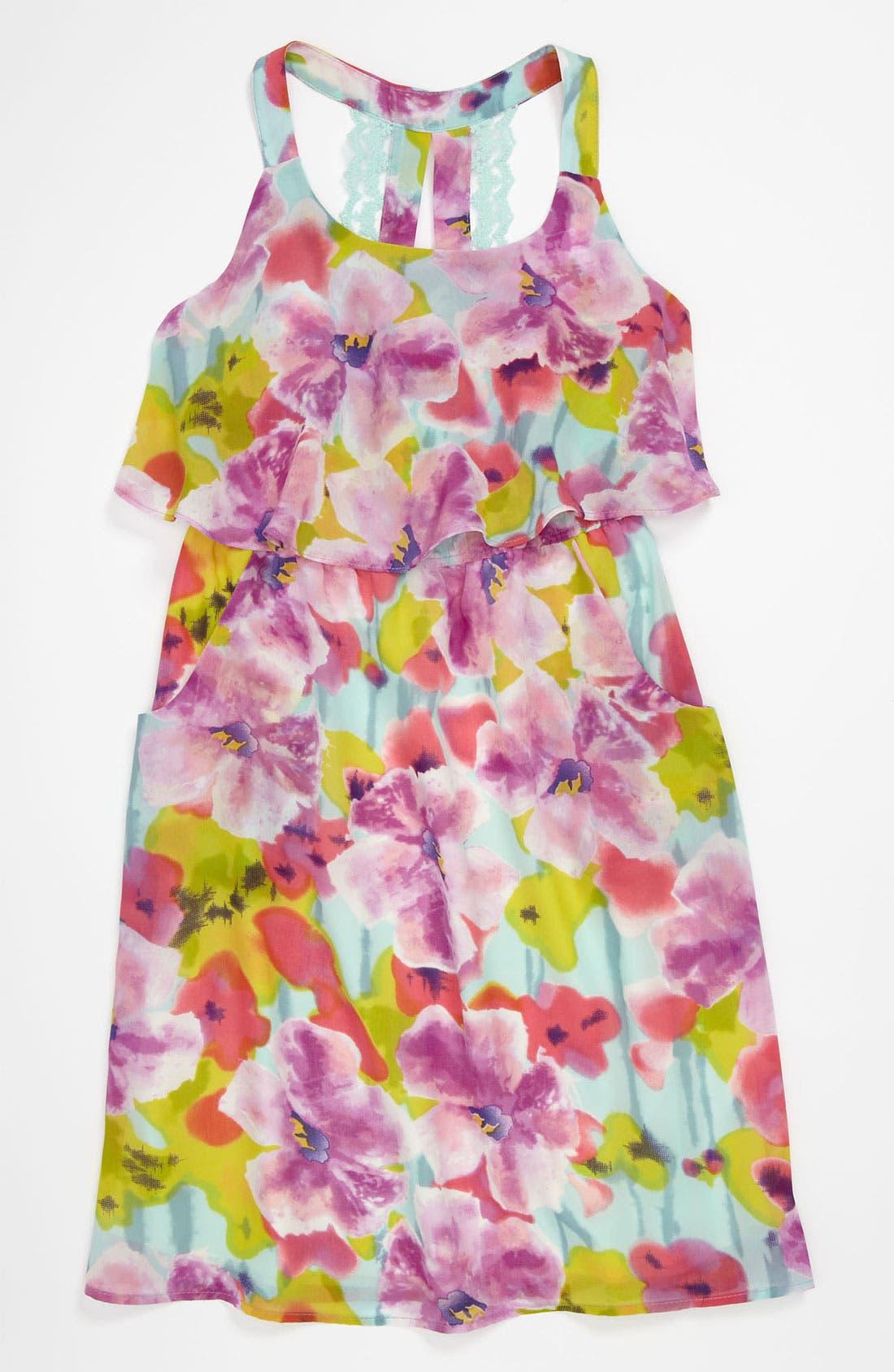 Alternate Image 1 Selected - Paper Doll Lace Back Popover Dress (Little Girls & Big Girls)