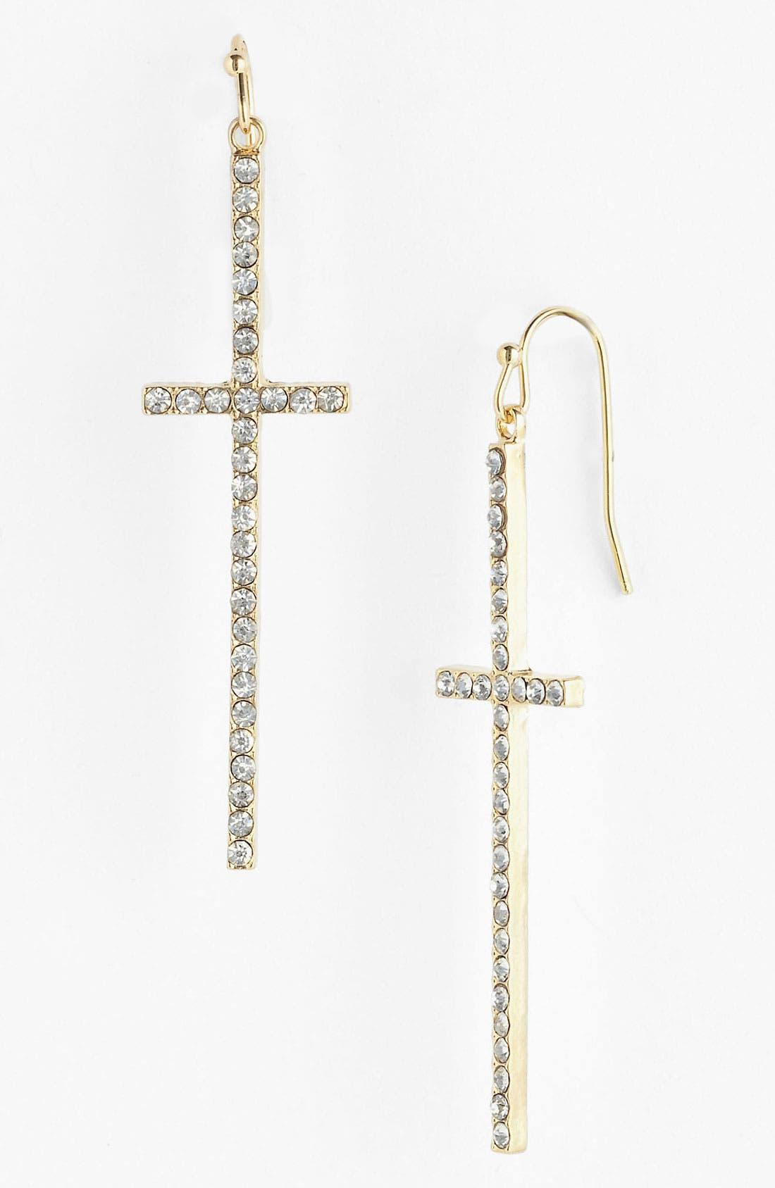 Alternate Image 1 Selected - Stephan & Co. Rhinestone Cross Earrings