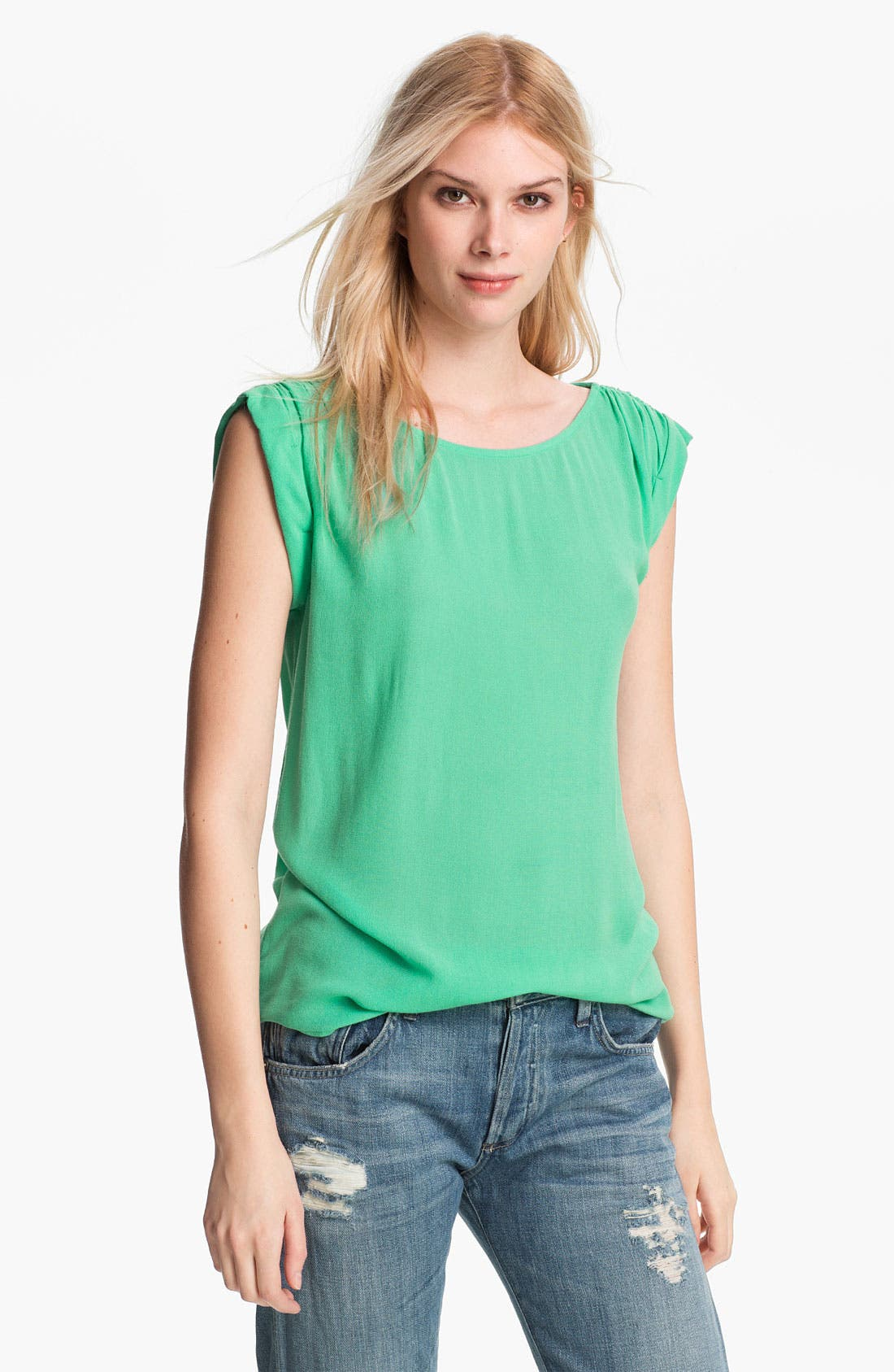 Alternate Image 1 Selected - Ella Moss Ruched Roll Sleeve Top