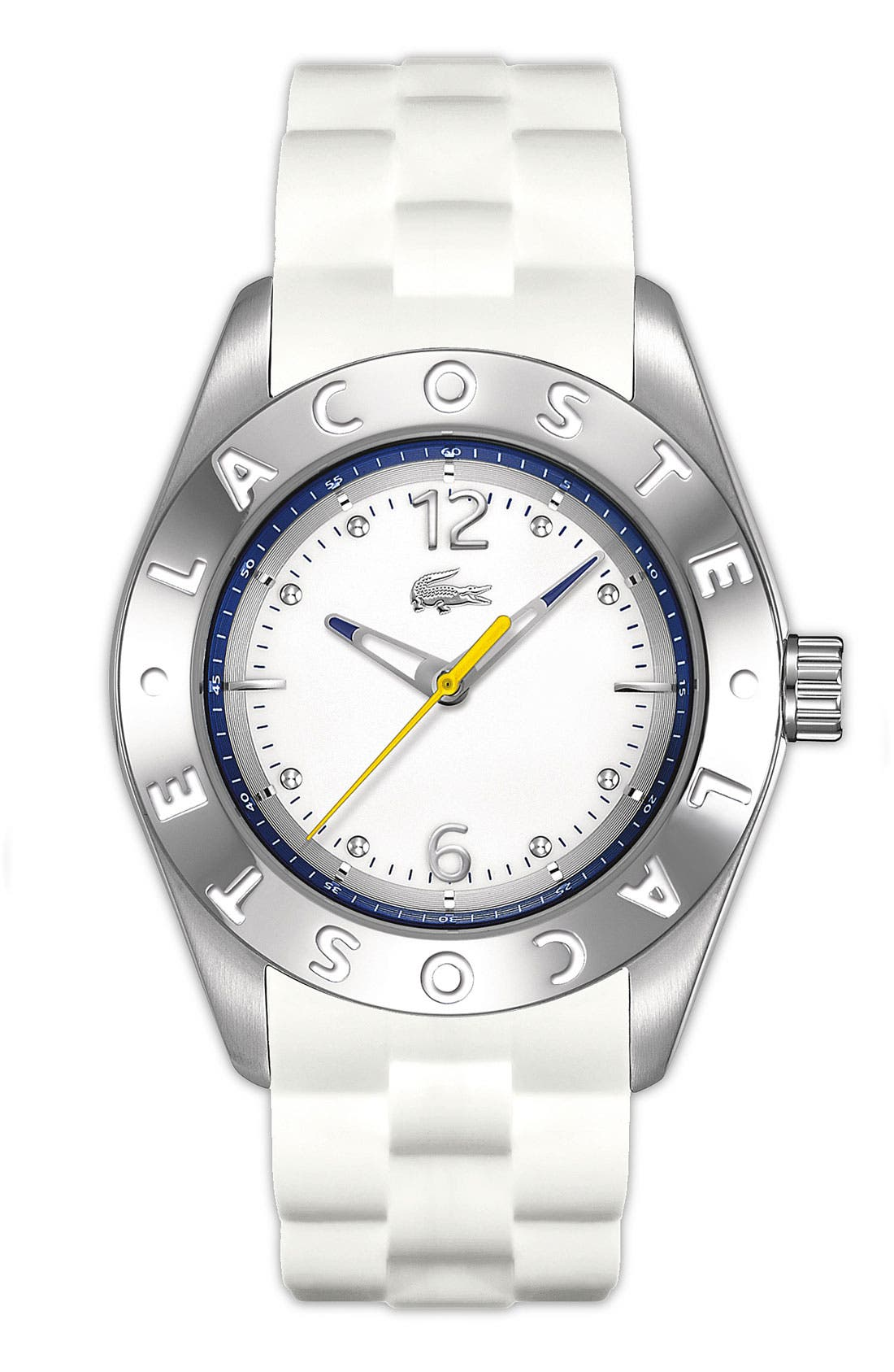 Alternate Image 1 Selected - Lacoste 'Biarritz' Logo Bezel Silicone Strap Watch, 38mm