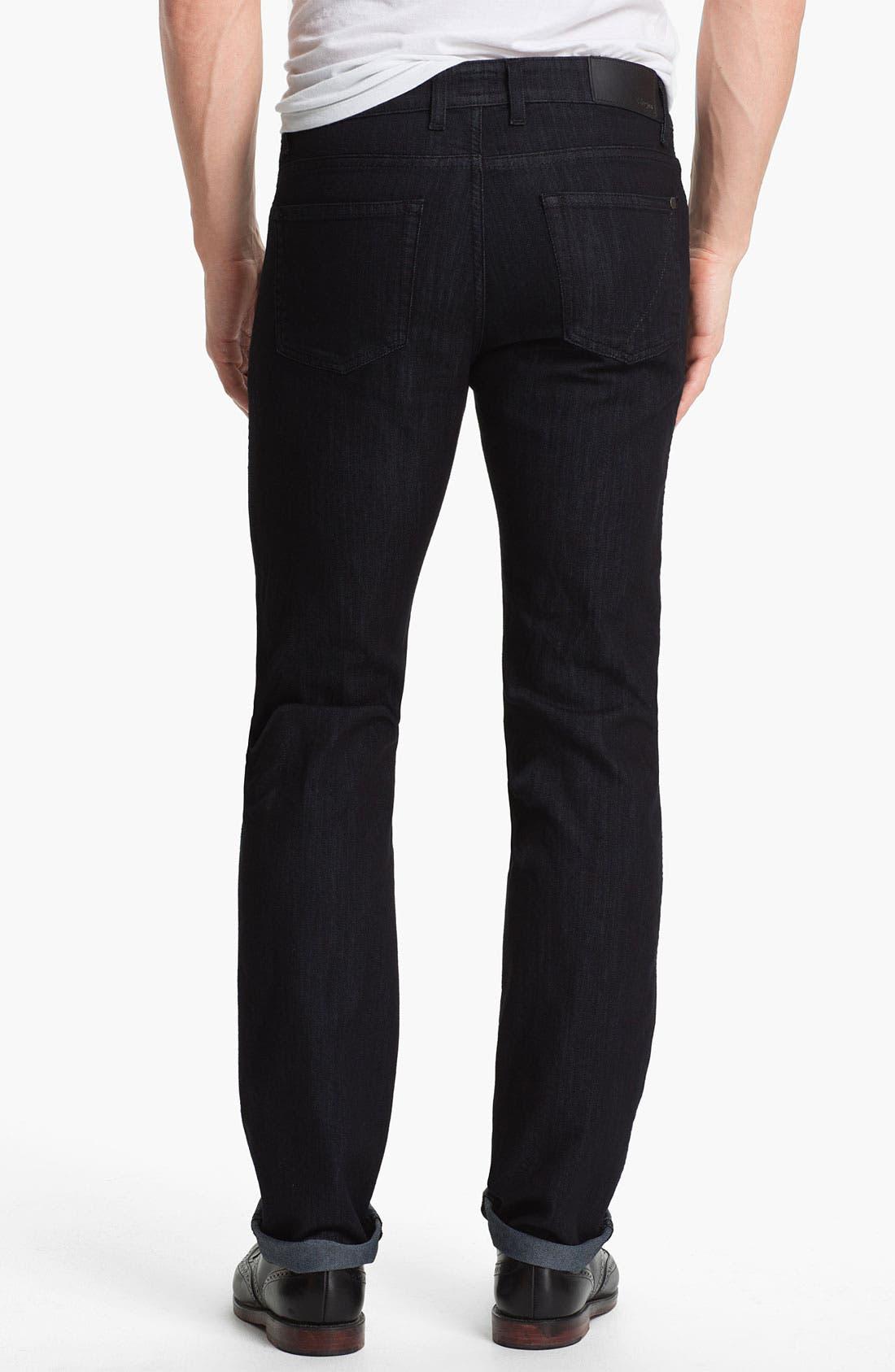 Alternate Image 2  - Z Zegna 'Metalized Effect' Straight Leg Jeans (Black)