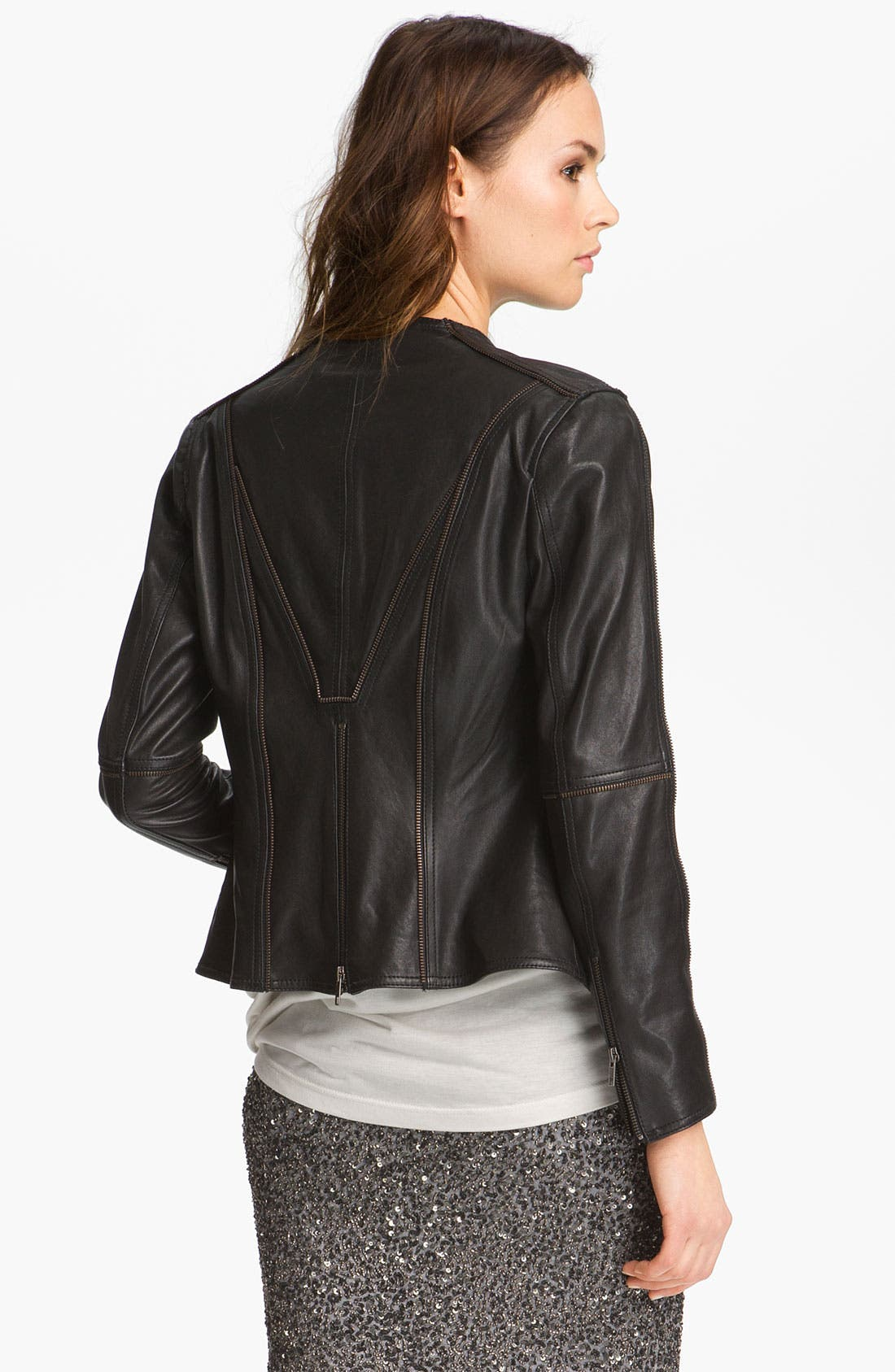 Alternate Image 3  - Haute Hippie Zip Front Leather Blazer