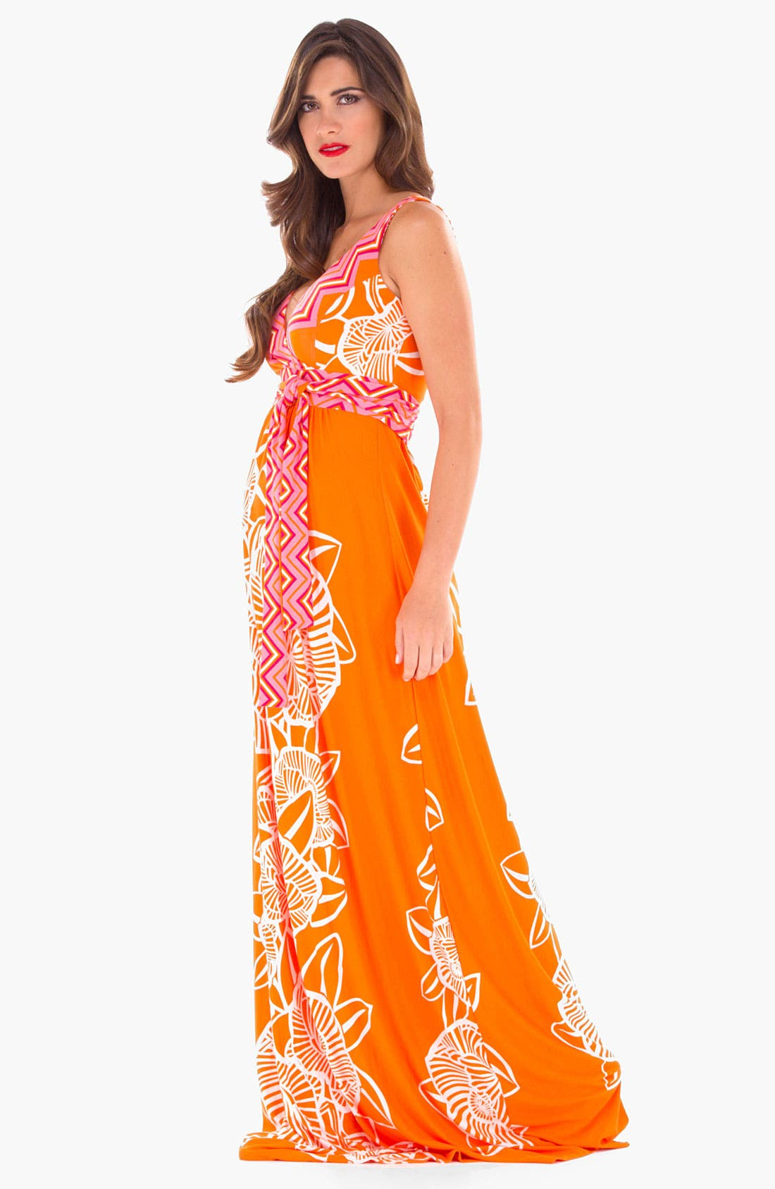 Alternate Image 1 Selected - Olian Maternity Print Maxi Dress