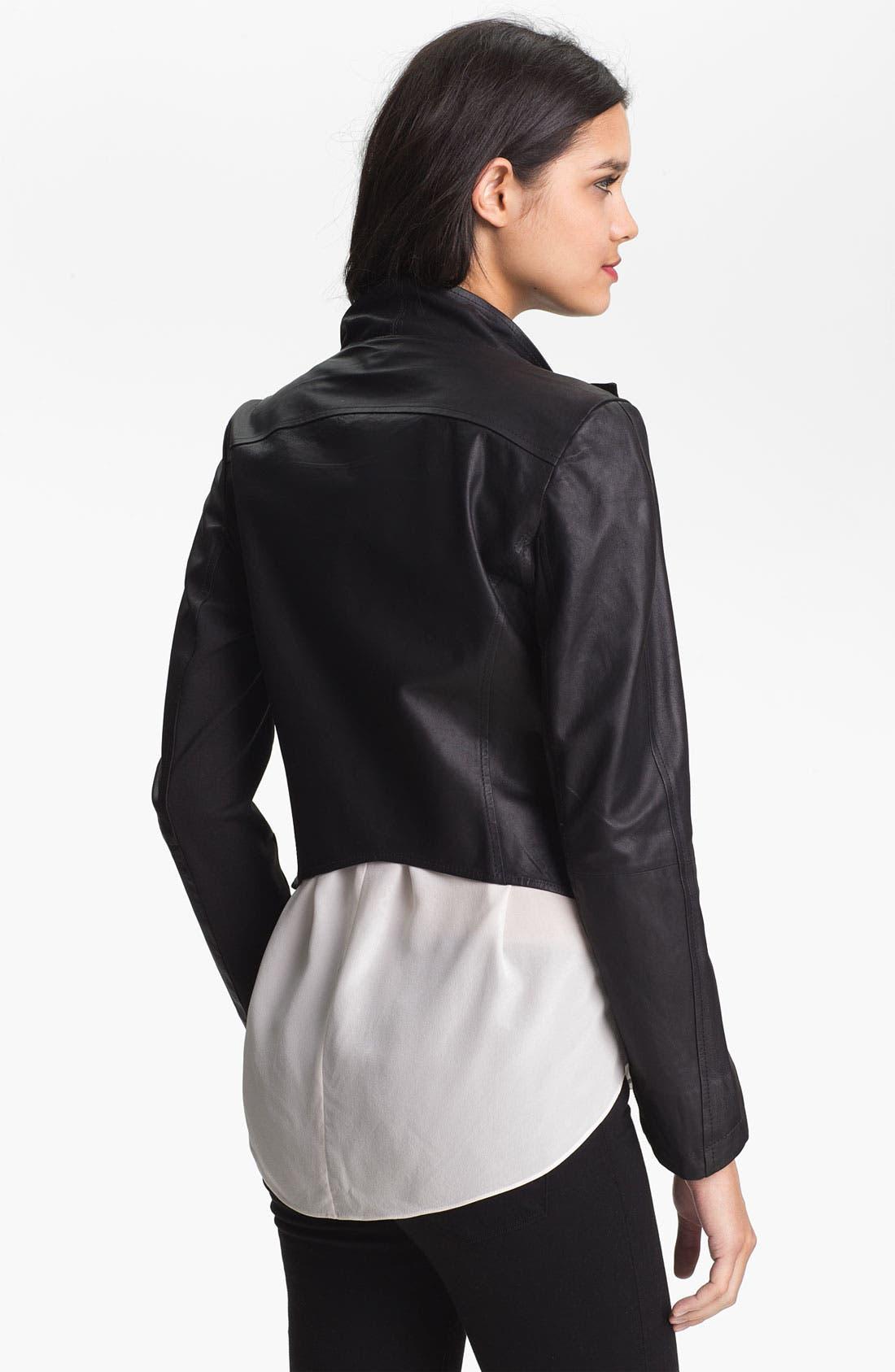 Alternate Image 2  - LaMarque Drape Collar Leather Jacket