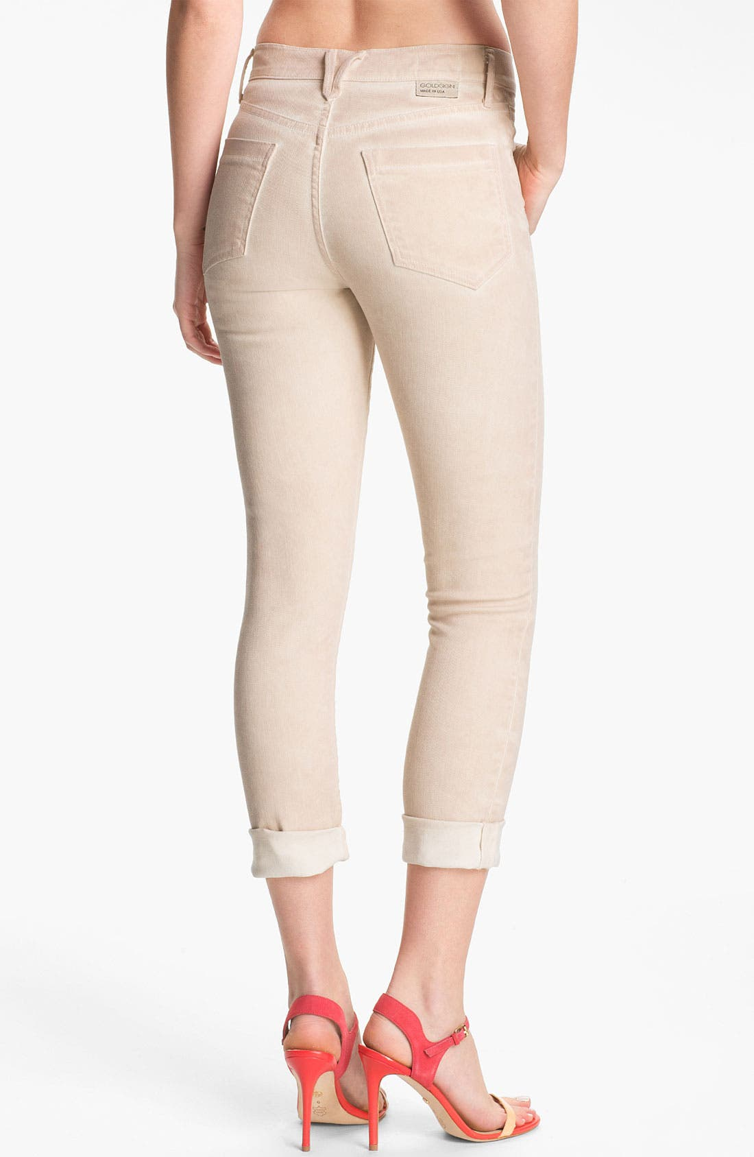 Alternate Image 2  - Goldsign 'Jenny' High Waist Crop Skinny Jeans (Cream)