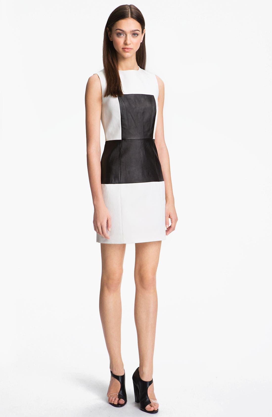 Alternate Image 1 Selected - Tibi Paneled Leather & Cotton Dress