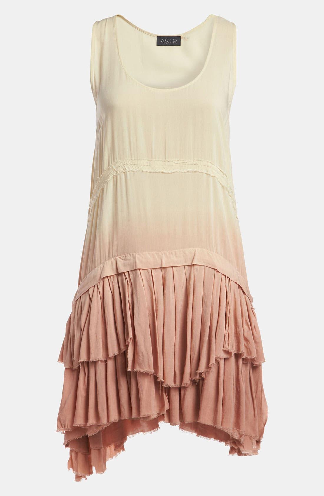 Main Image - ASTR 'Ra Ra Ruffle' Dip Dye Tank Dress